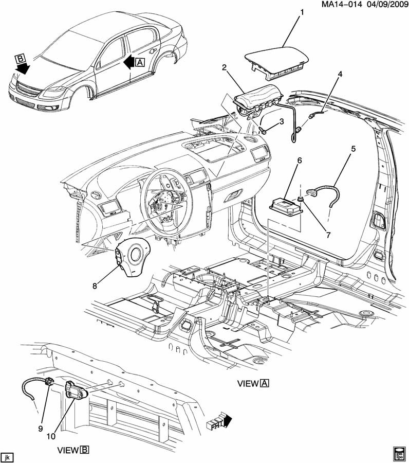 Chevrolet Cobalt Cover. Inflatable restraint system. Cover