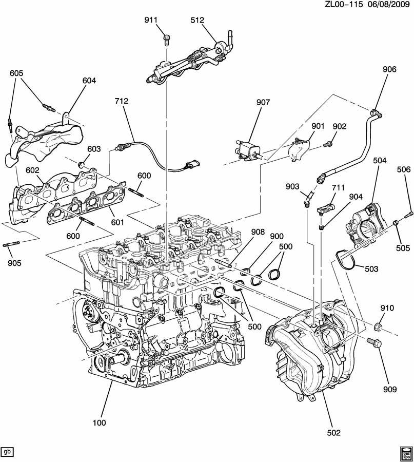 2008 Saturn Vue Manifold. Engine exhaust manifold