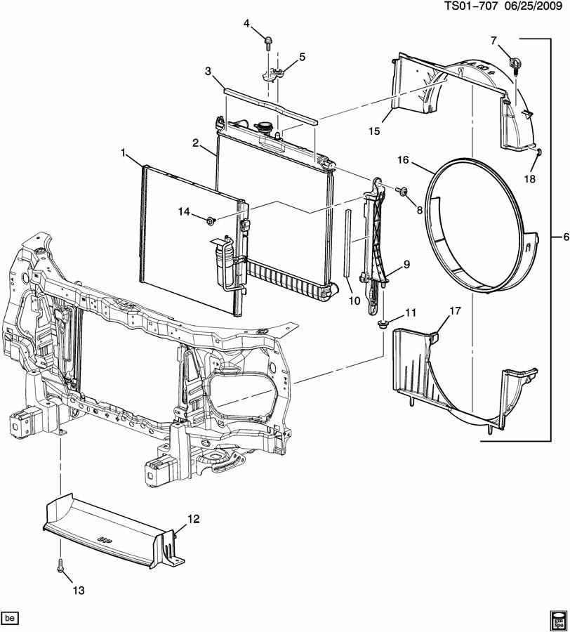 Chevrolet COLORADO Clip. Radiator fan shroud. Clip, eng