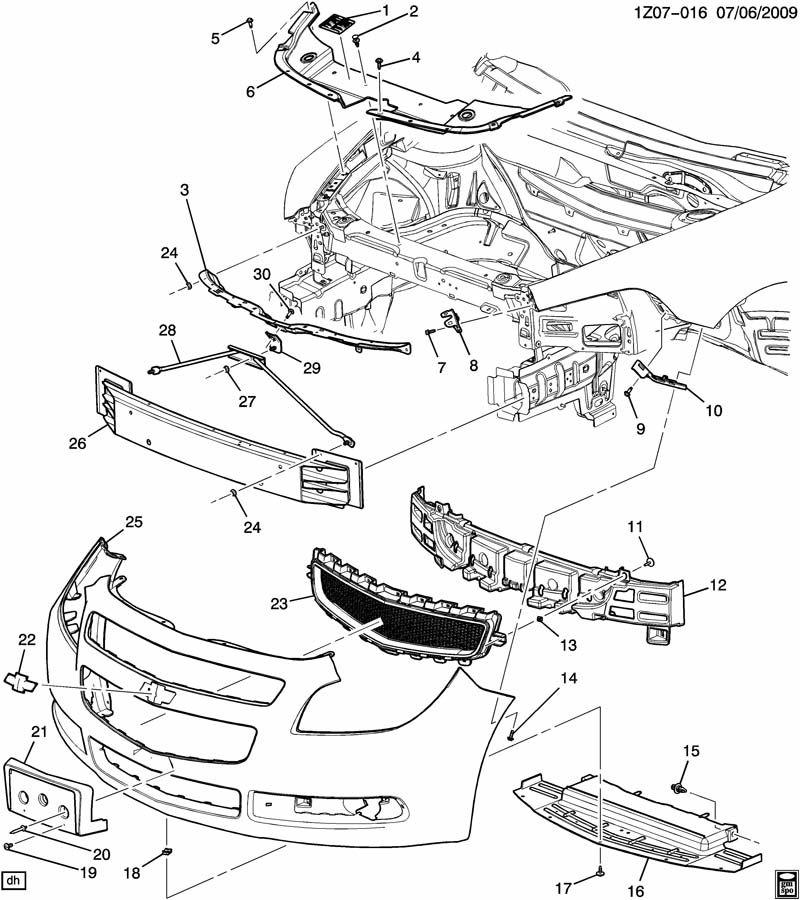 Chevrolet Malibu Bumper Impact Absorber (Front, Upper