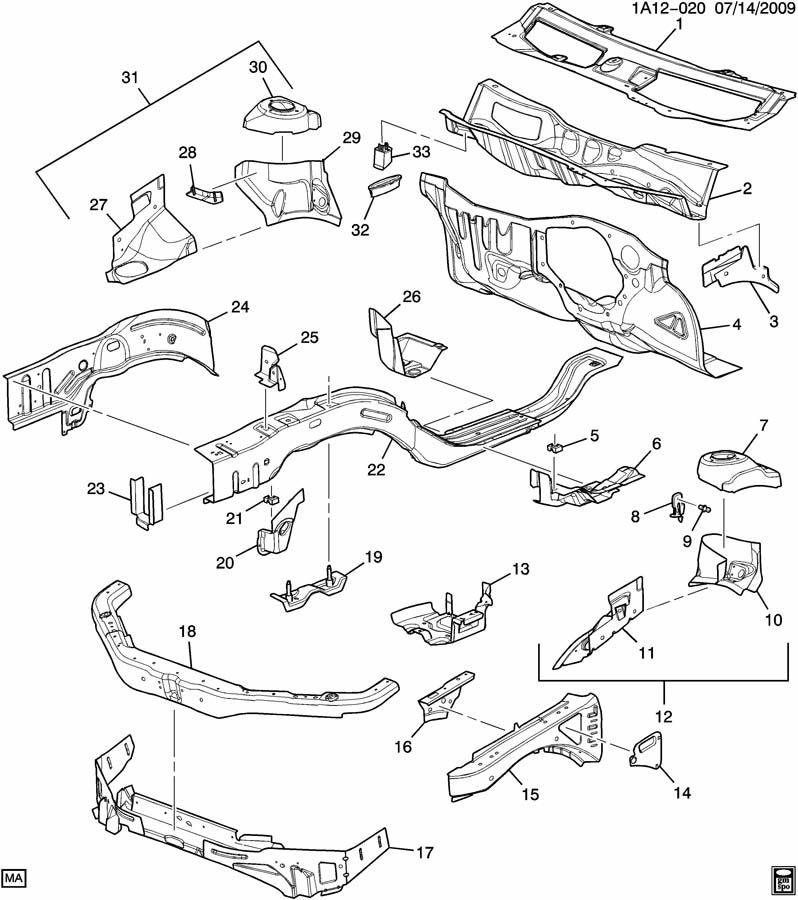 2005 Chevrolet Cobalt SHEET METAL/BODY PART 1-ENGINE