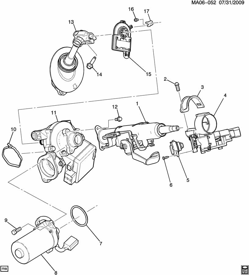Chevrolet Cobalt Column kit. Steering. Column kit, strg