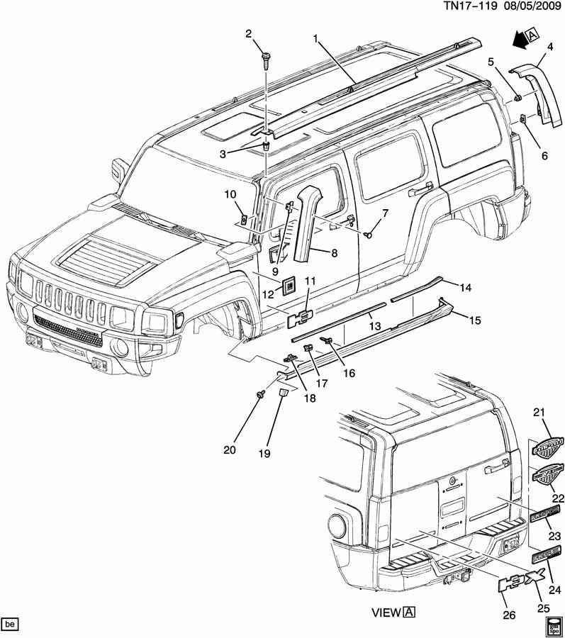 Hummer H3 Molding. Windshield garnish & reveal. Molding, w