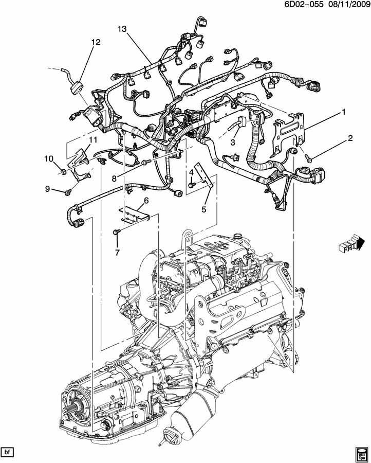 Cadillac STS Bracket. Chassis/engine wiring harness