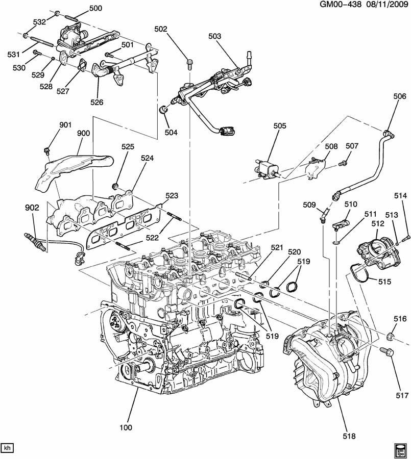 2009 Chevrolet Malibu Intake & Exhaust Manifold. STUD