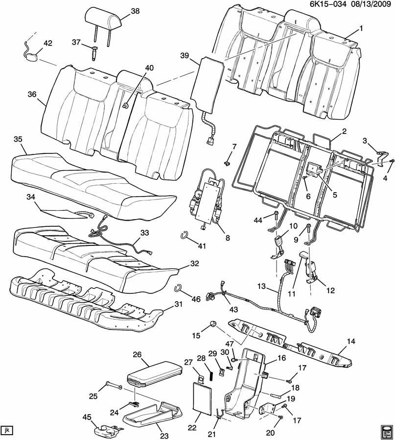 Cadillac DTS Frame. Rear seat back. Frame, r/seat bk(w/pwr