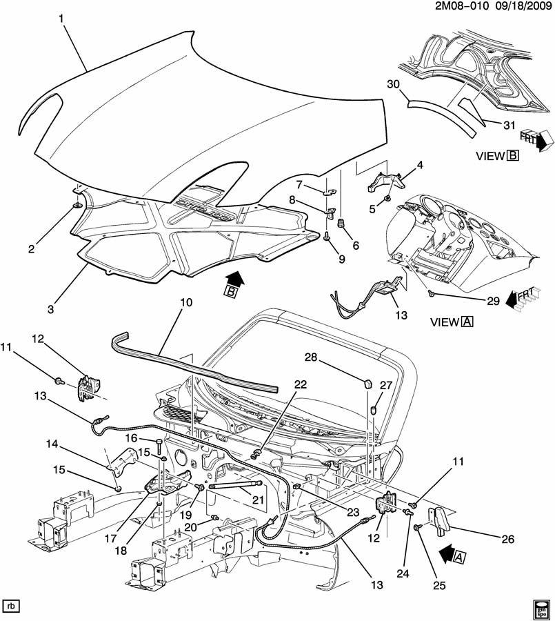 Pontiac Solstice Cable. Hood latch. Cable, hood prim lat
