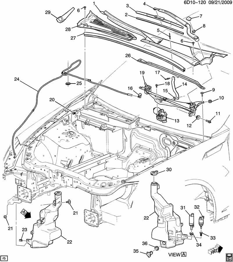 Chevrolet HHR Cap. Windshield wiper arm. Windshield wiper