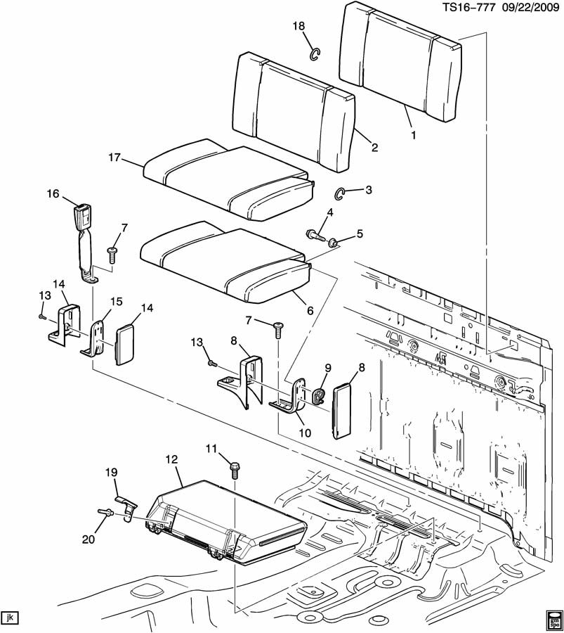 Chevrolet COLORADO Compartment. Seat separator console