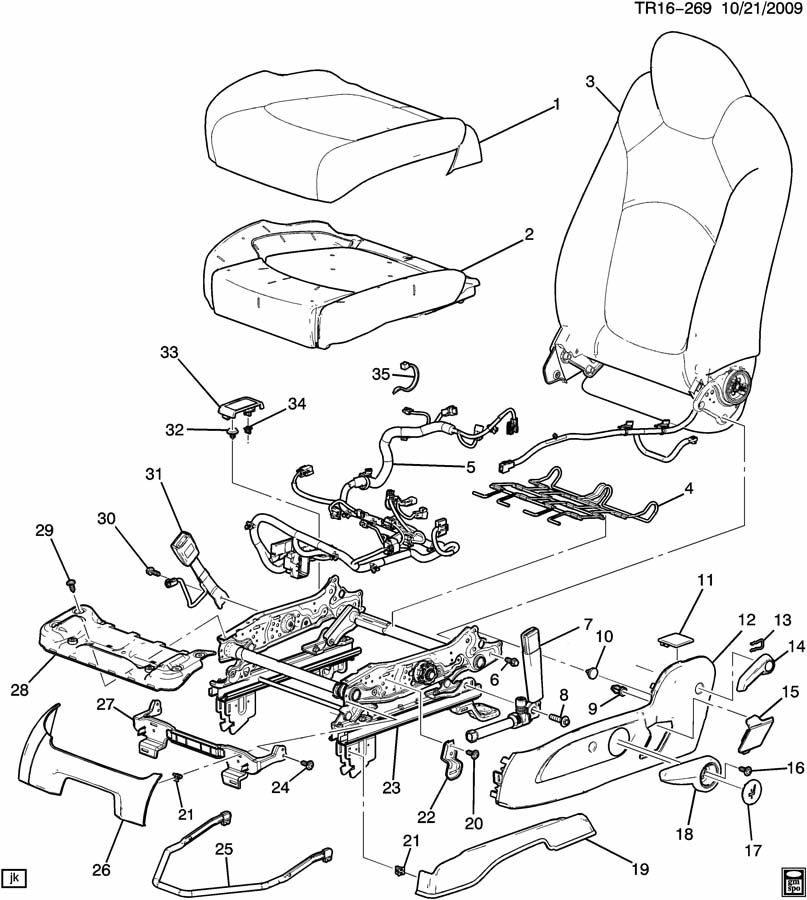2011 Buick Enclave Cover. Seat adjuster/recliner. Cover, d