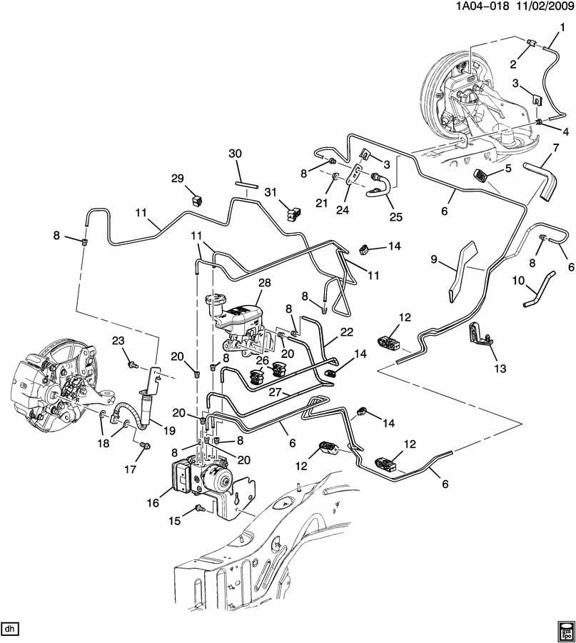 2010 Chevrolet Cobalt SS 2DR Brake Hydraulic Line