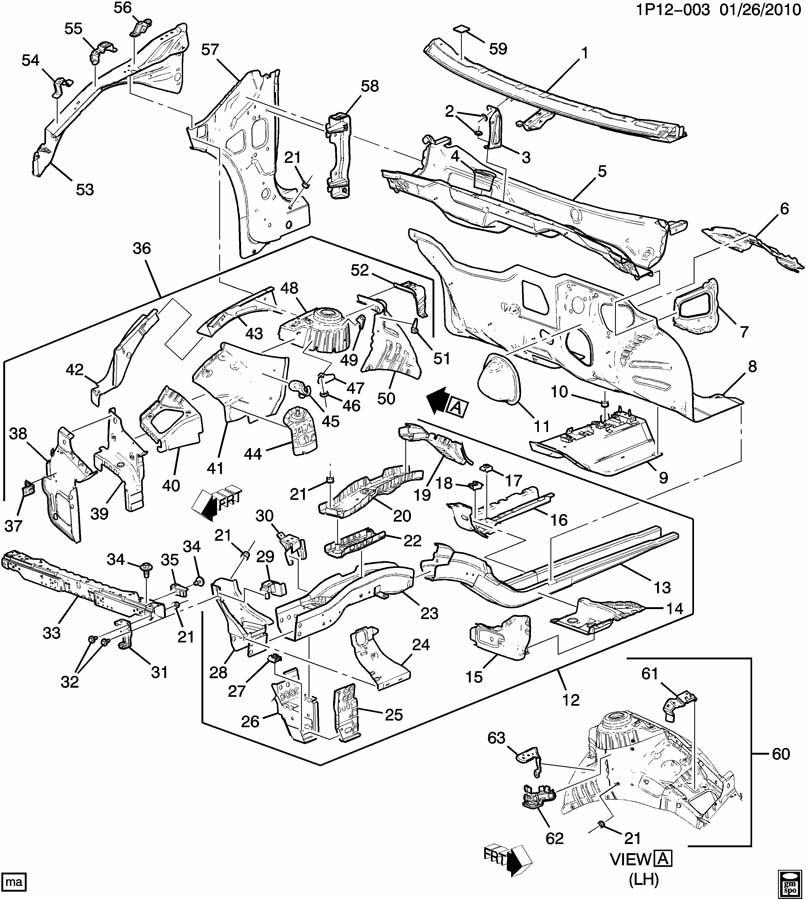 Chevrolet Cruze Fender Apron Extension (Front, Upper). RH