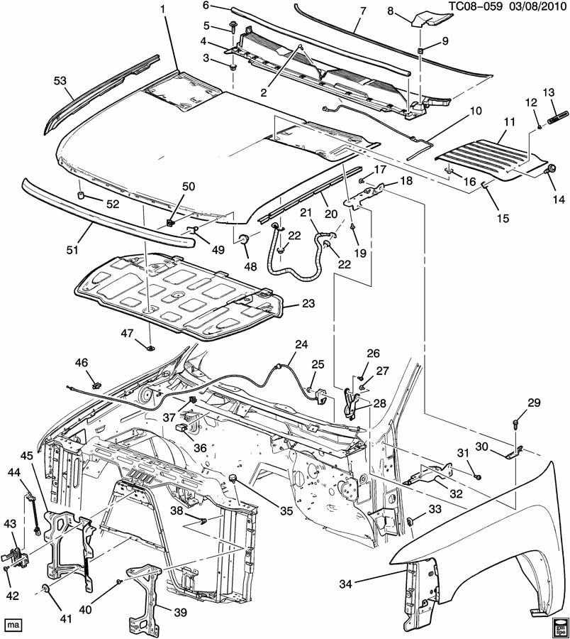Chevrolet Silverado Insulator. Hood panel. Insulator, hood