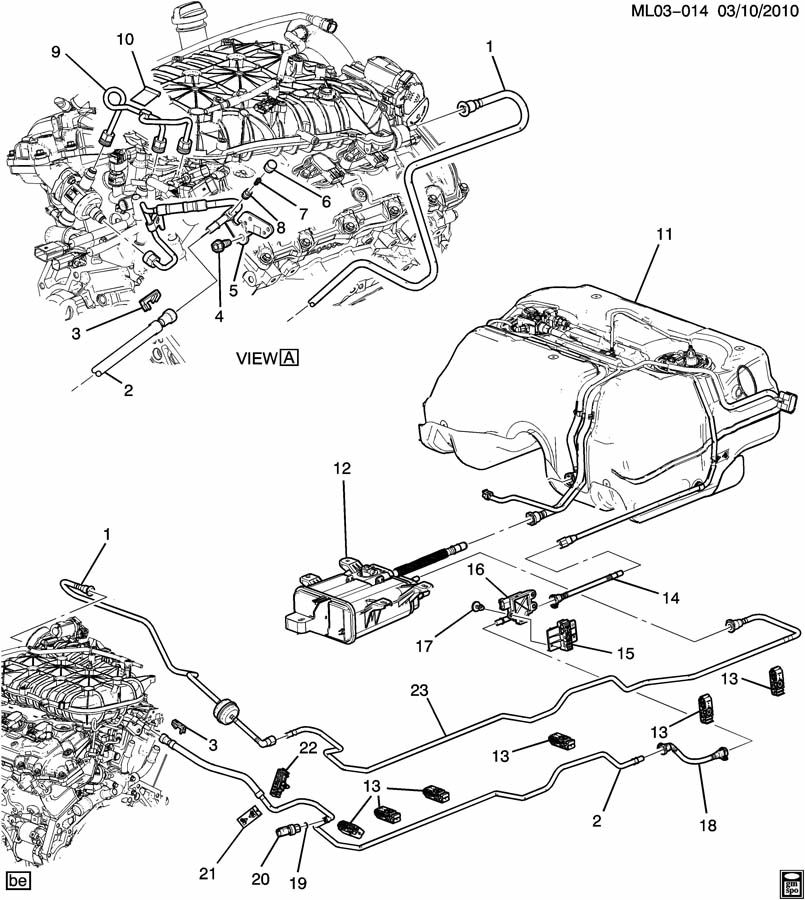 Chevrolet Equinox Hose. Evaporation emission system (fuel