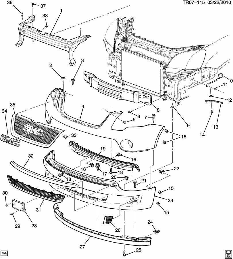 Buick Enclave Fascia. Front and rear bumper/fascia face