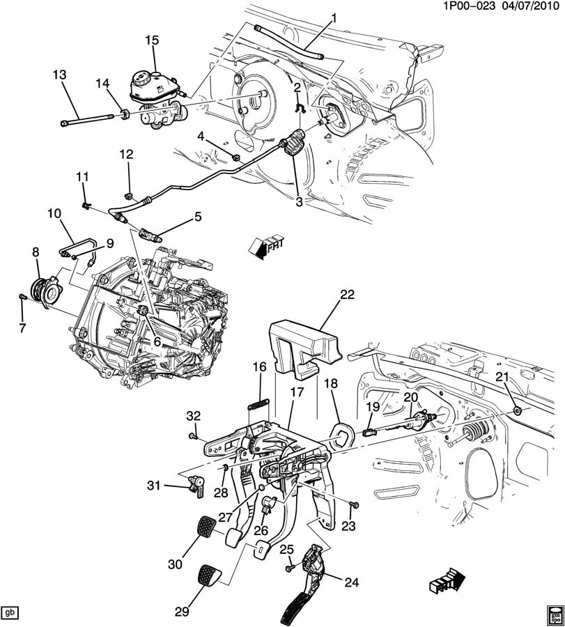 Chevrolet Cruze P CLUTCH PEDAL & CYLINDERS (MANUAL