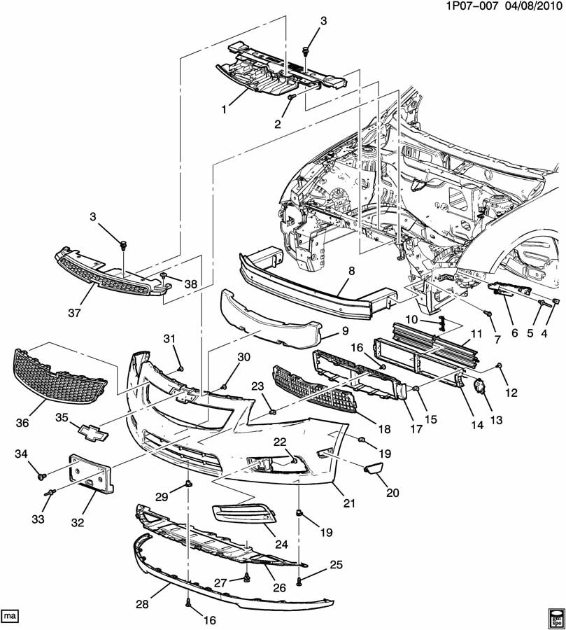 Chevrolet Malibu Actuator. Bumper/fascia. Actuator, frt