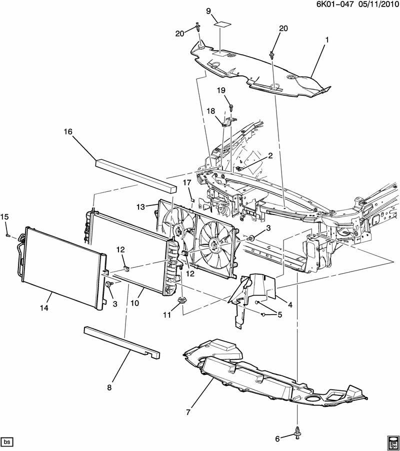 2007 Cadillac DTS Deflector. Radiator air. Deflector, frt