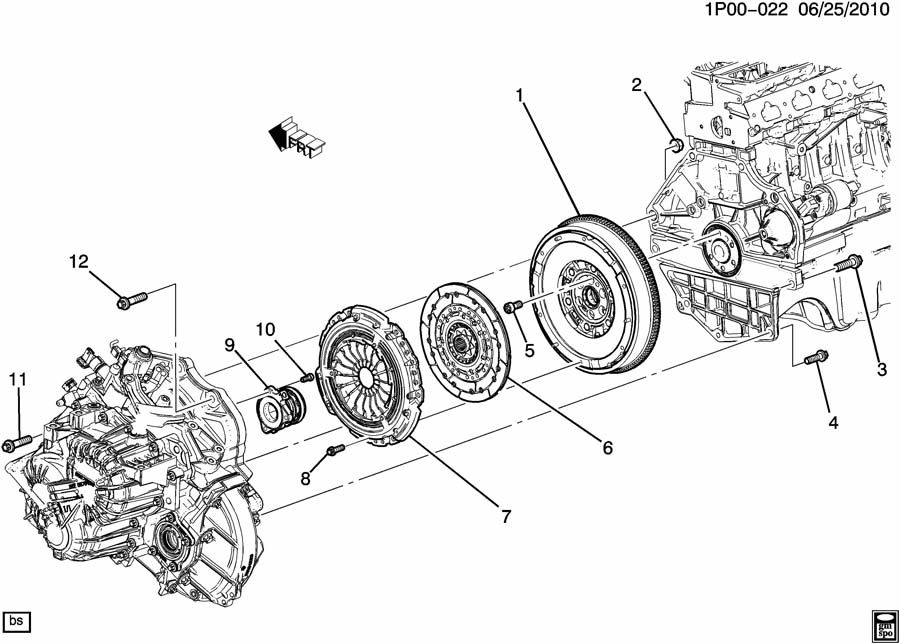 Chevrolet Cruze Bolt. Engine flywheel. Bolt, flywhl