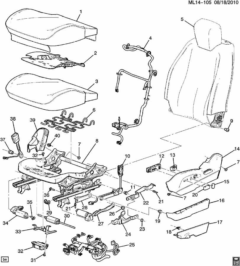 Chevrolet Cruze Actuator. Front seat adjuster. Slide