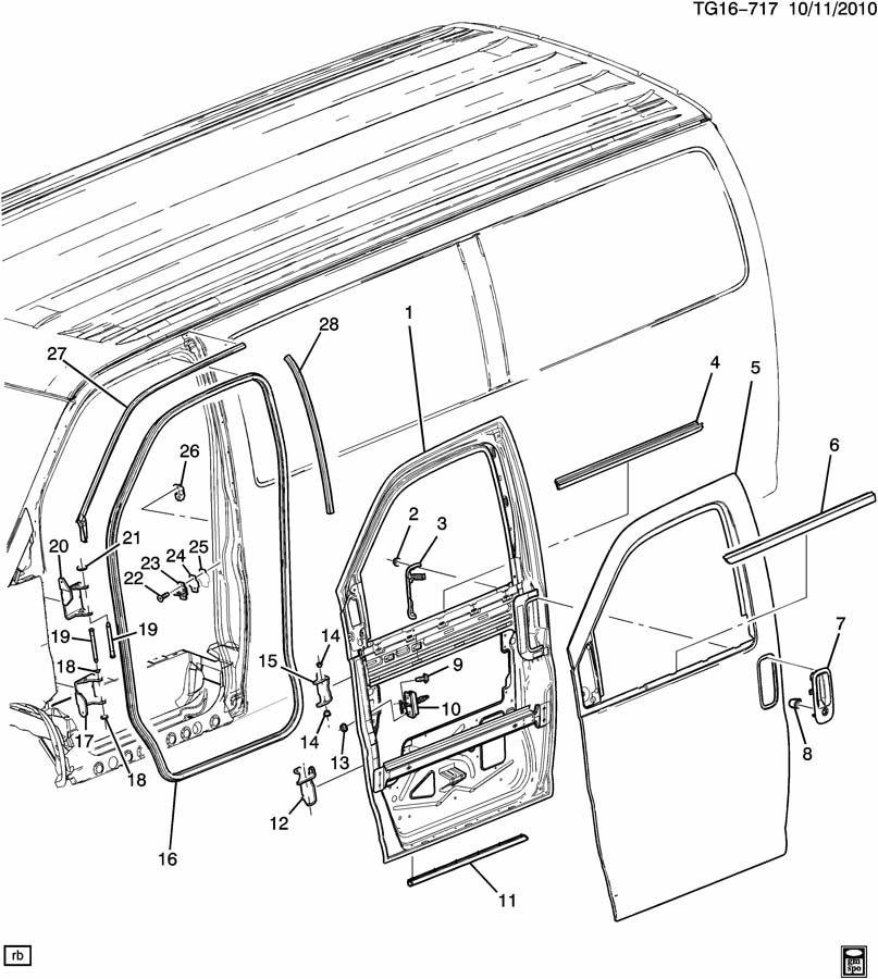 Chevrolet EXPRESS Weatherstrip. Side door opening