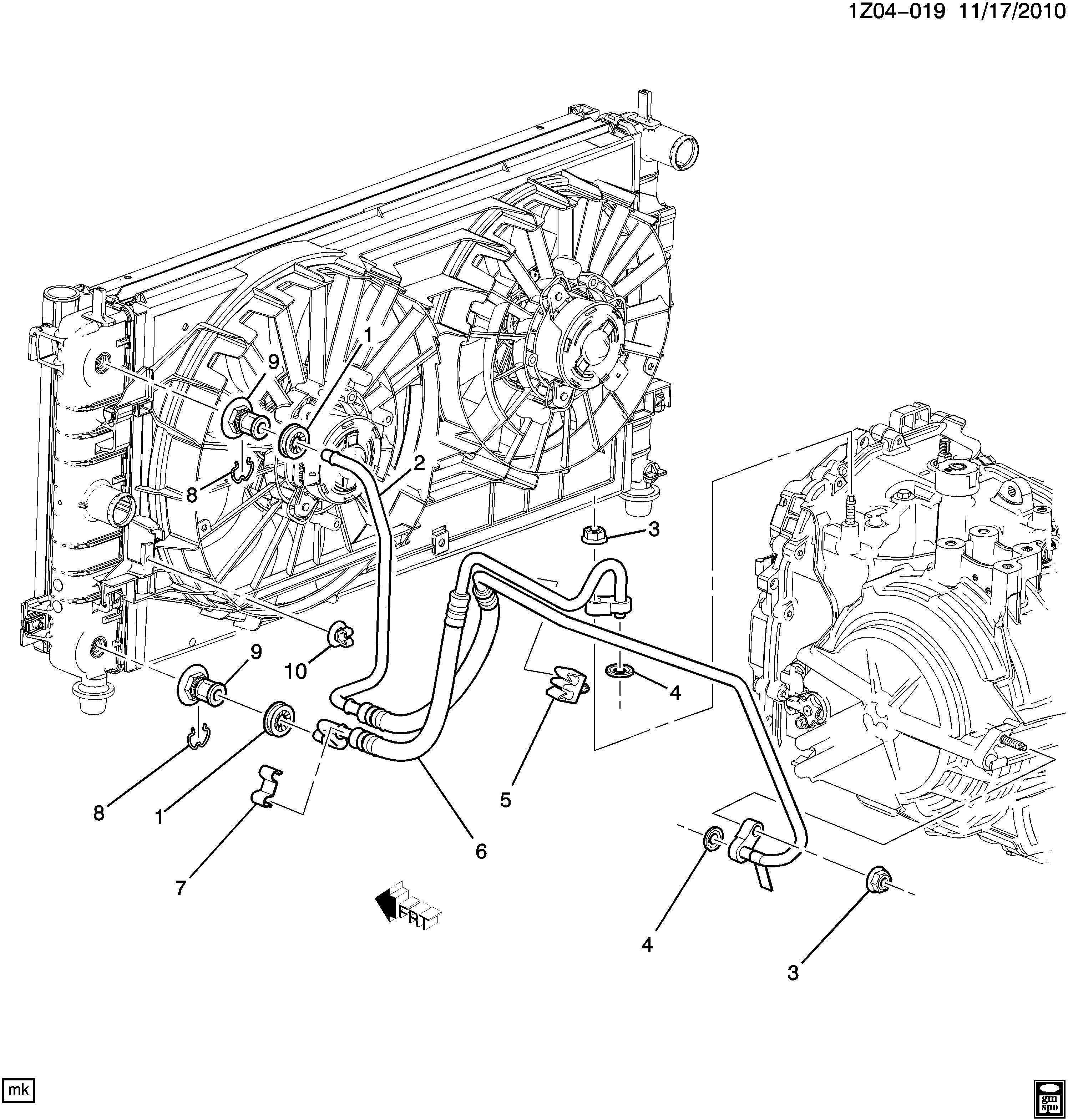 Pontiac G6 Transmission Oil Cooler. CONNECTOR. FITTING