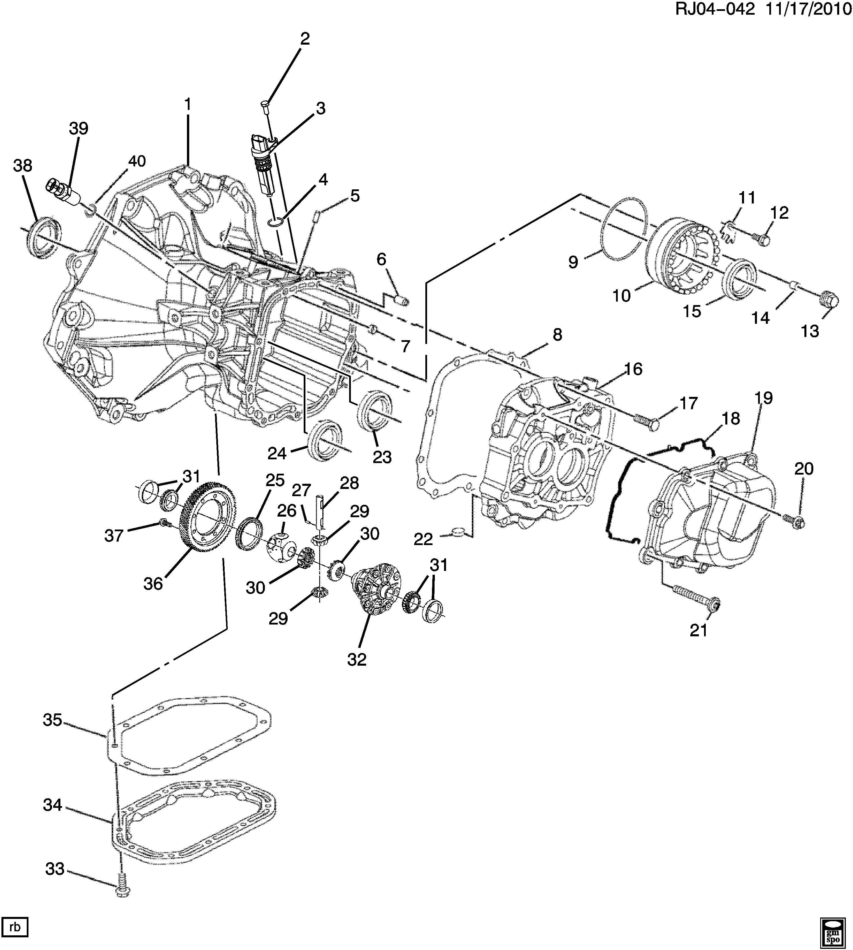 Chevrolet Trax Bearing. Transmission mainshaft center/rear