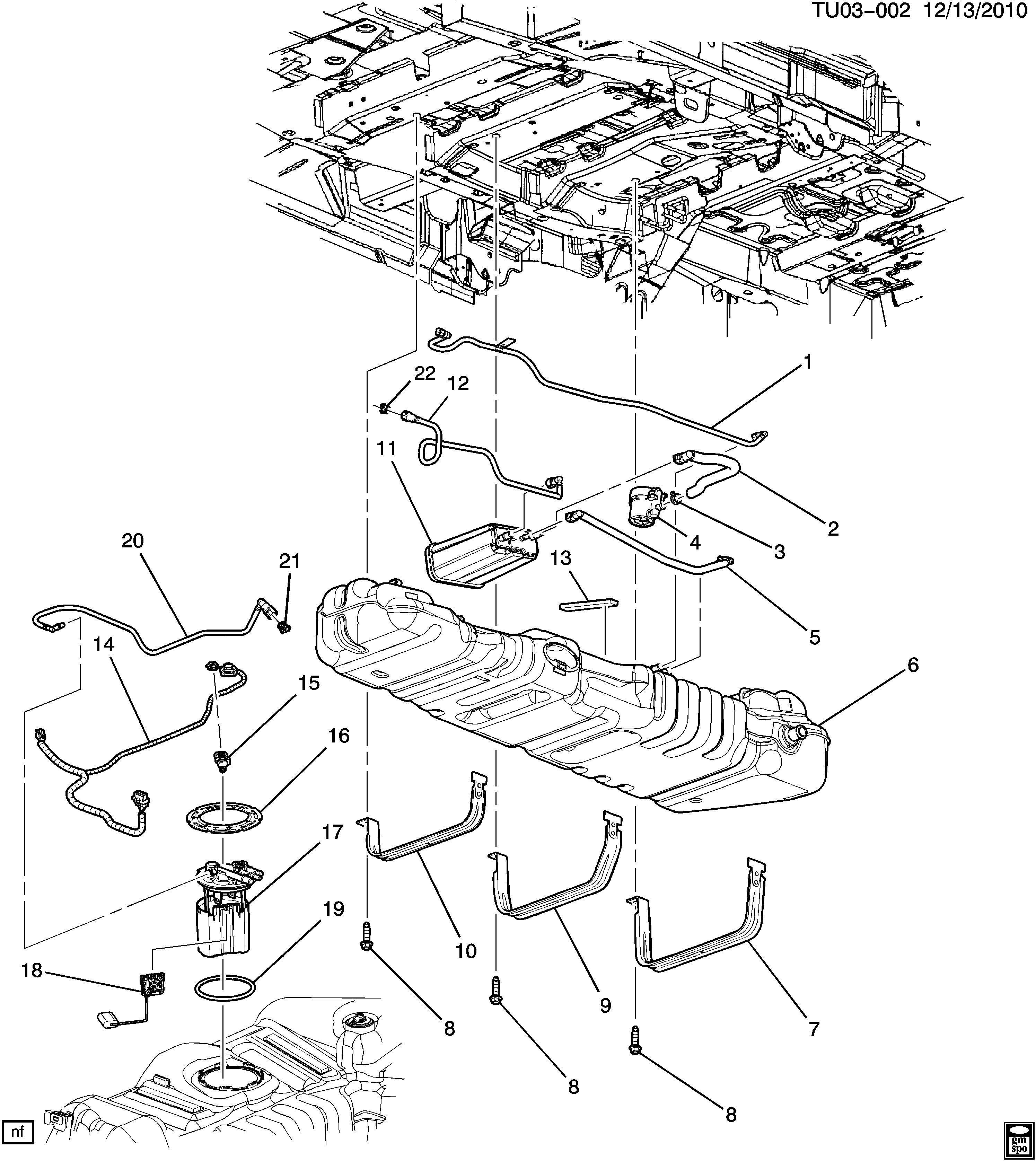 Chevrolet UPLANDER FUEL TANK & MOUNTING