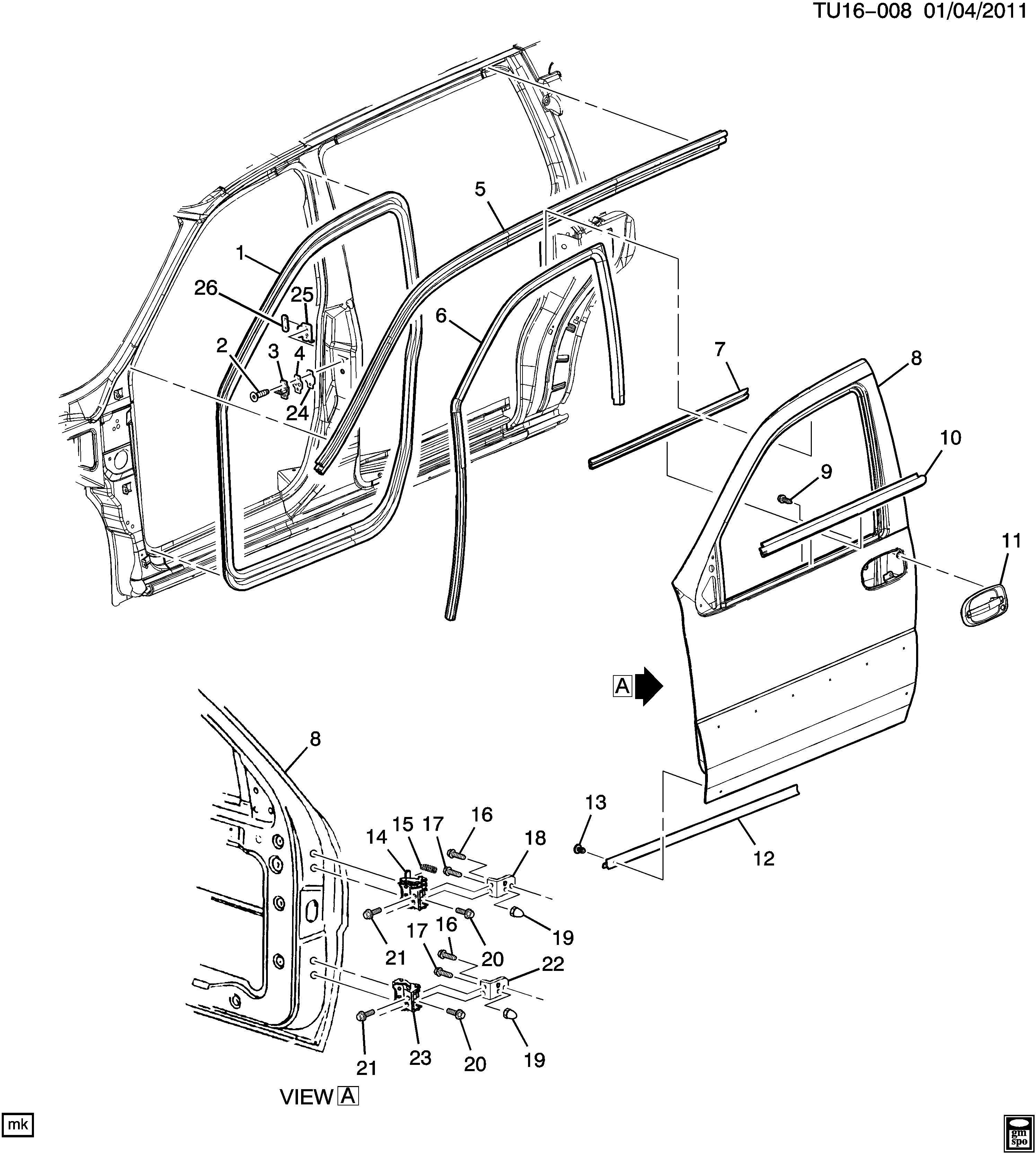 Chevrolet UPLANDER Weatherstrip. Side door opening. Side