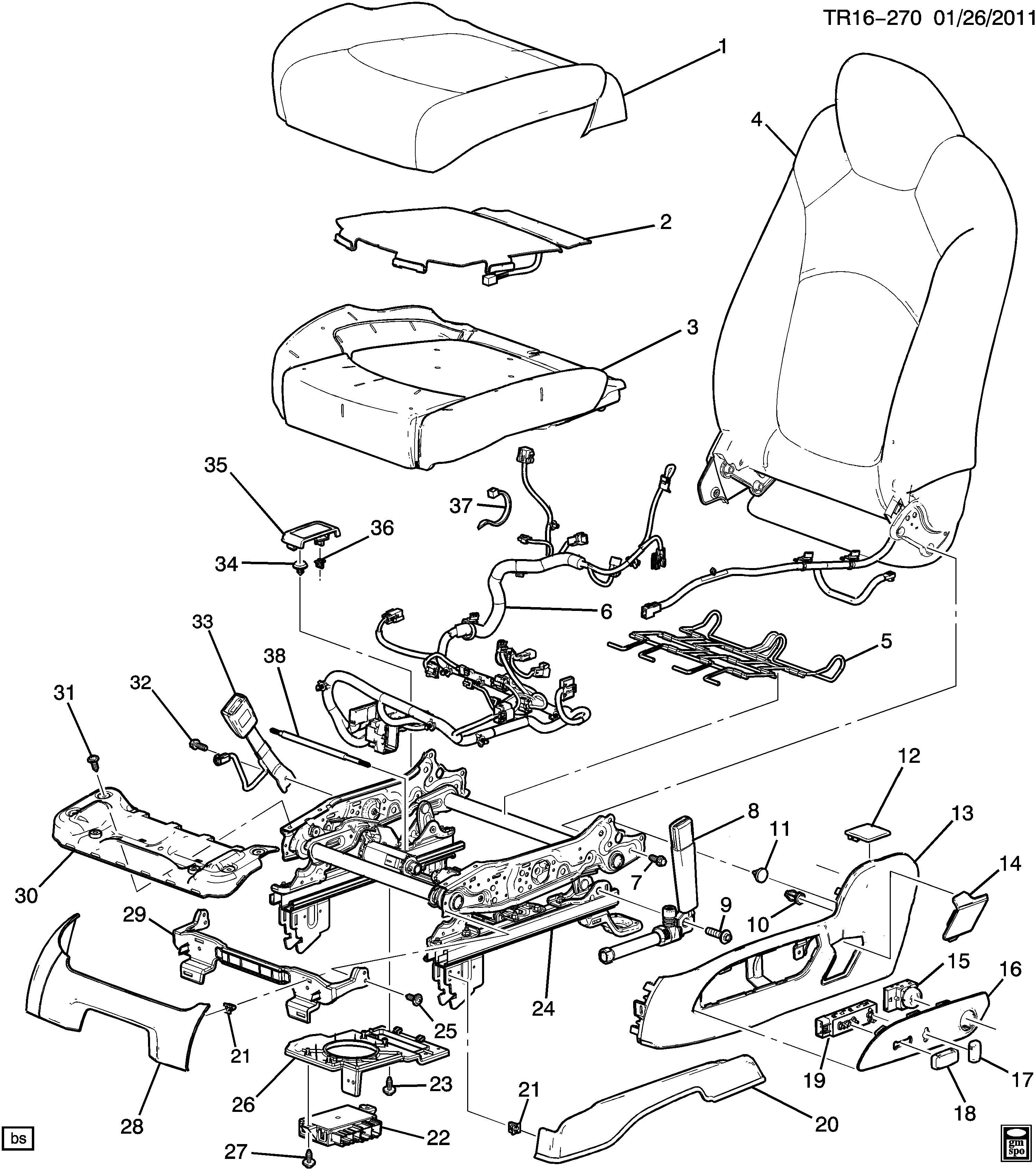 2011 Chevrolet Traverse Cover. Seat adjuster/recliner