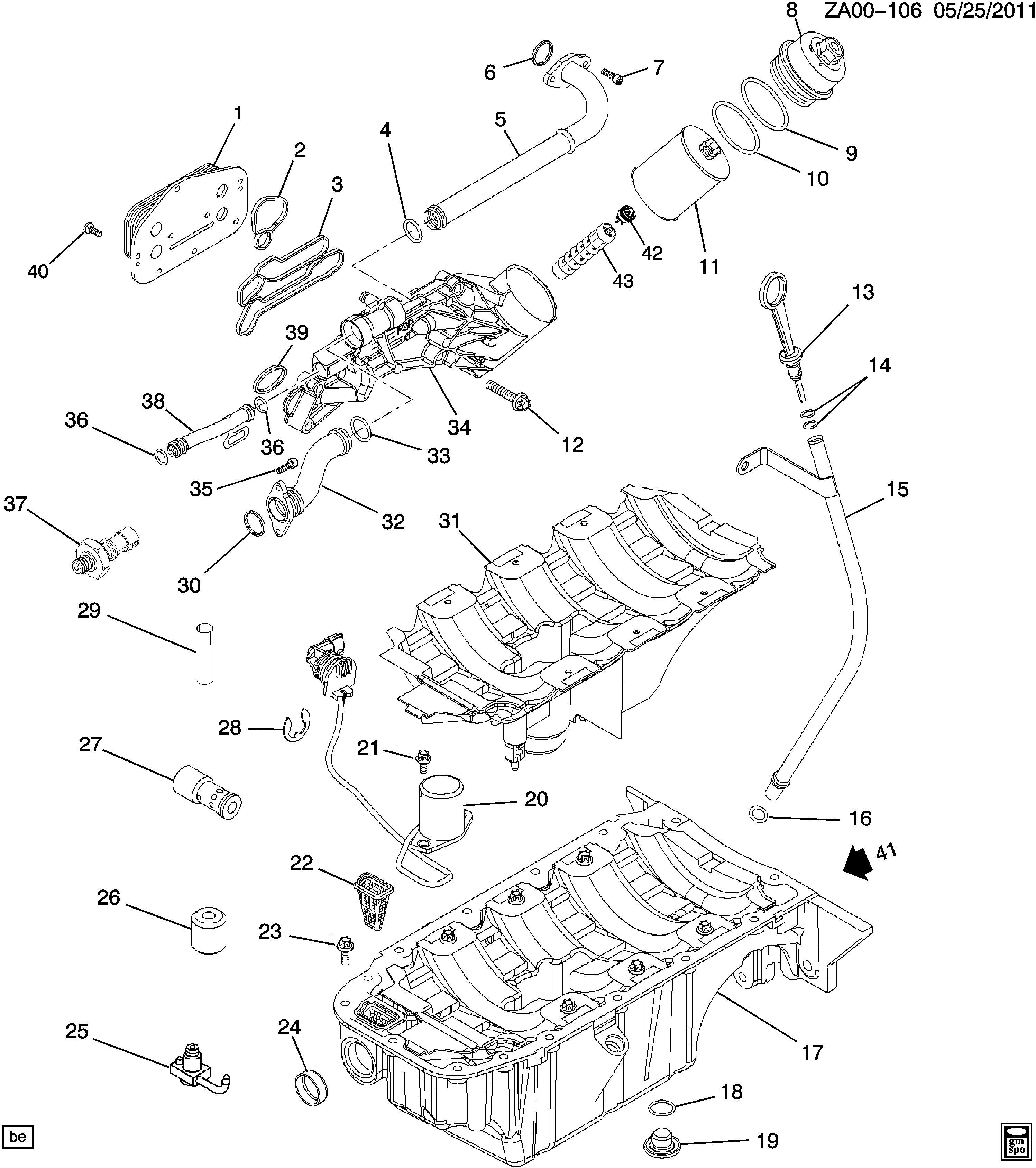 Chevrolet Cruze LTZ ECO Bolt. Engine oil cooler. Bolt, eng