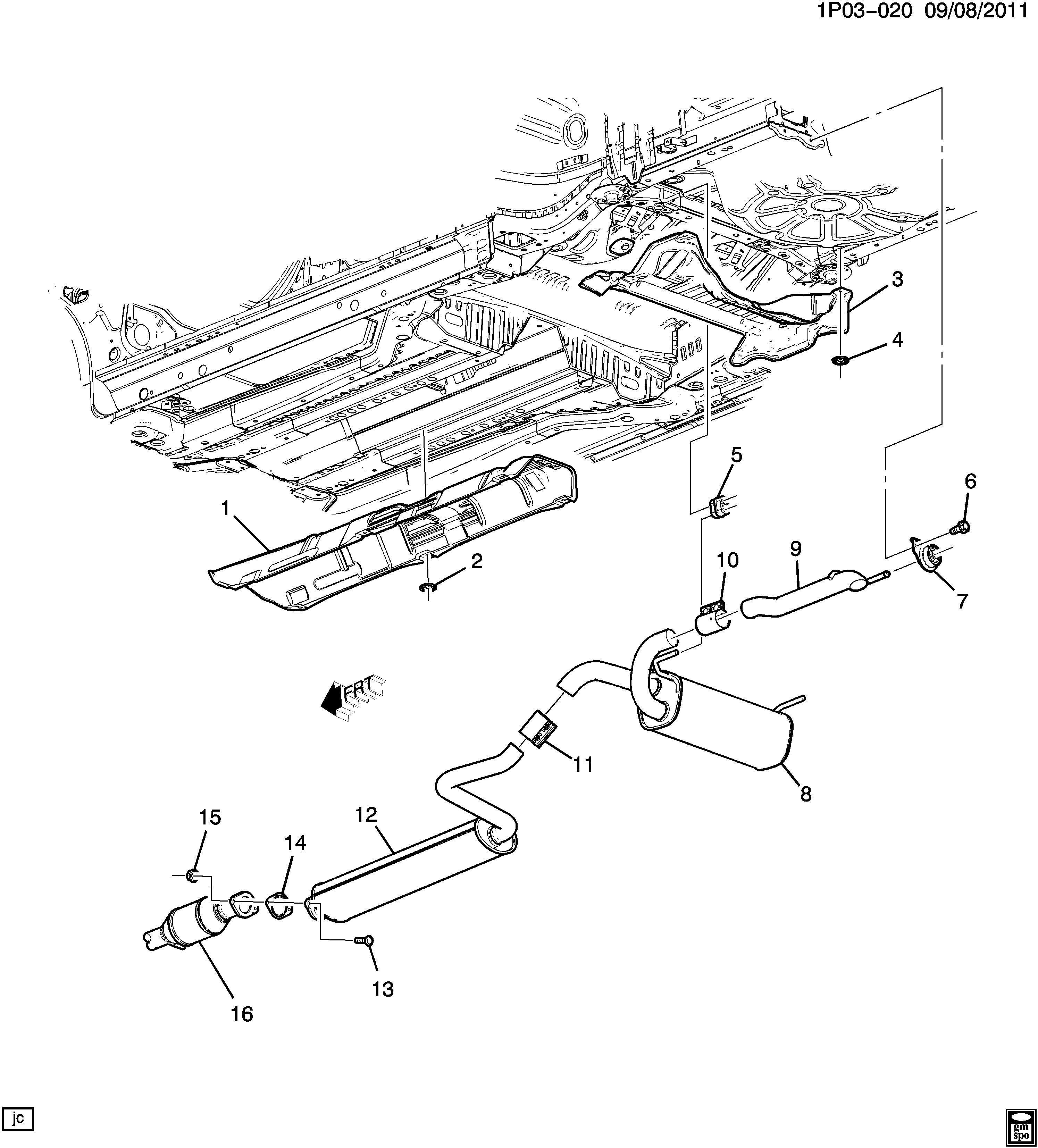 Chevrolet Cruze Gasket. Exhaust muffler/resonator. Gasket