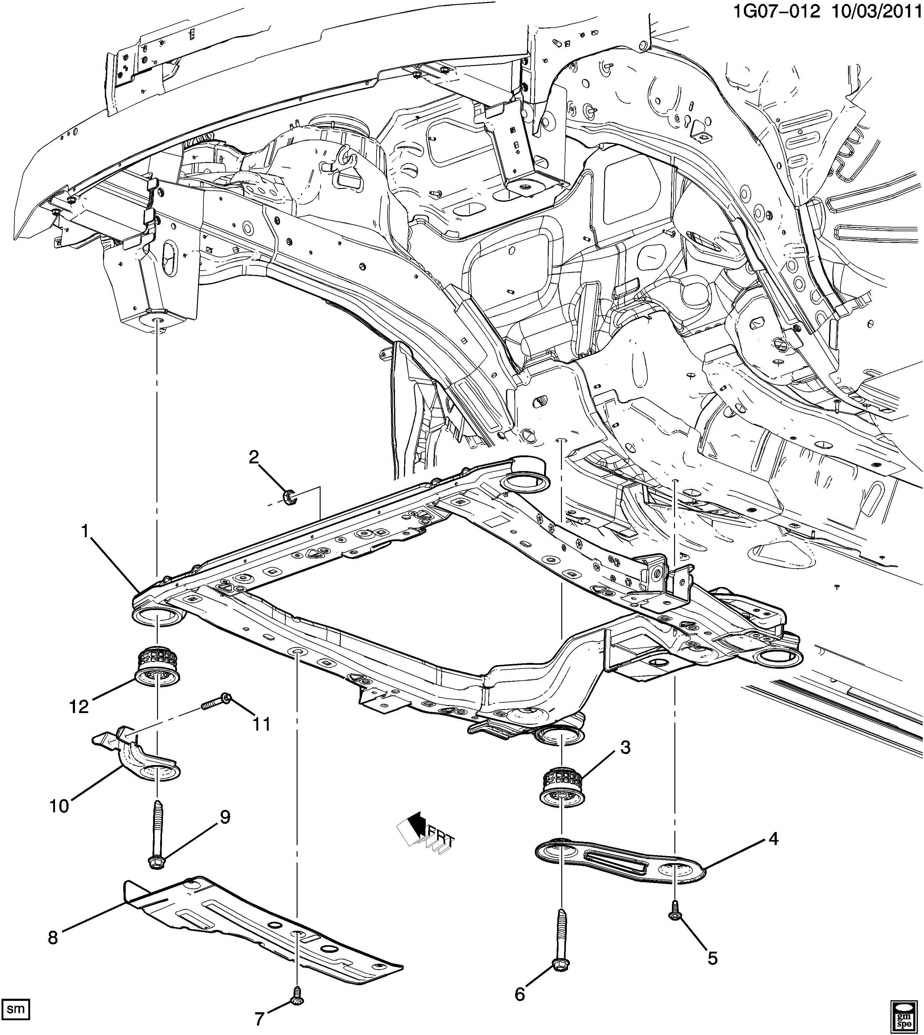 Chevrolet Malibu Frame. Chassis. Frame, drivetrain & frt