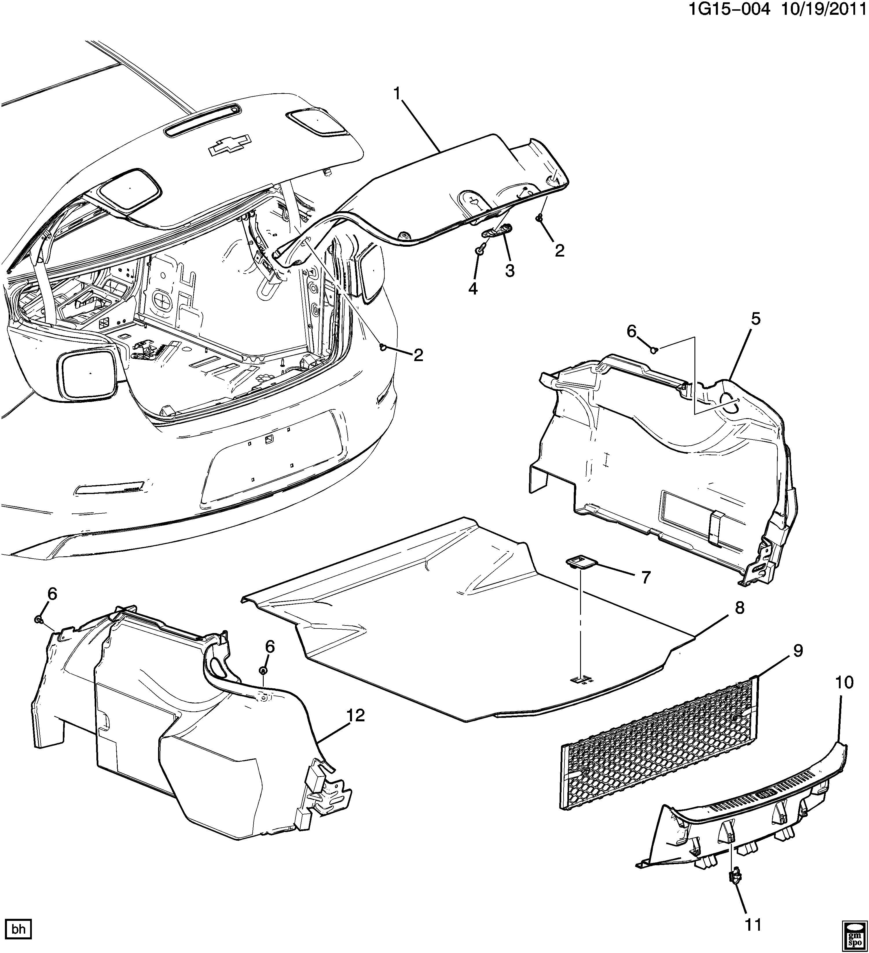 Chevrolet Malibu Floor Mat. TRUNK COMPARTMENT, w/o Eco