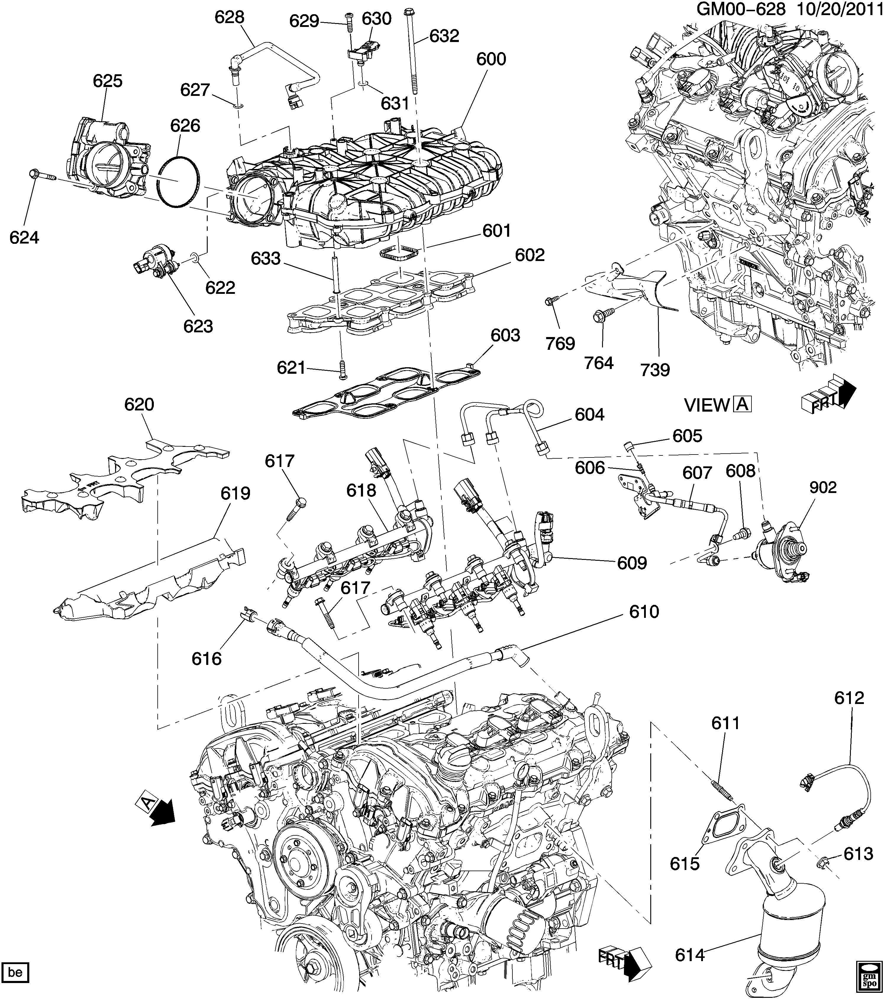 Cadillac SRX Stud. Catalytic converter. Exhaust muffler