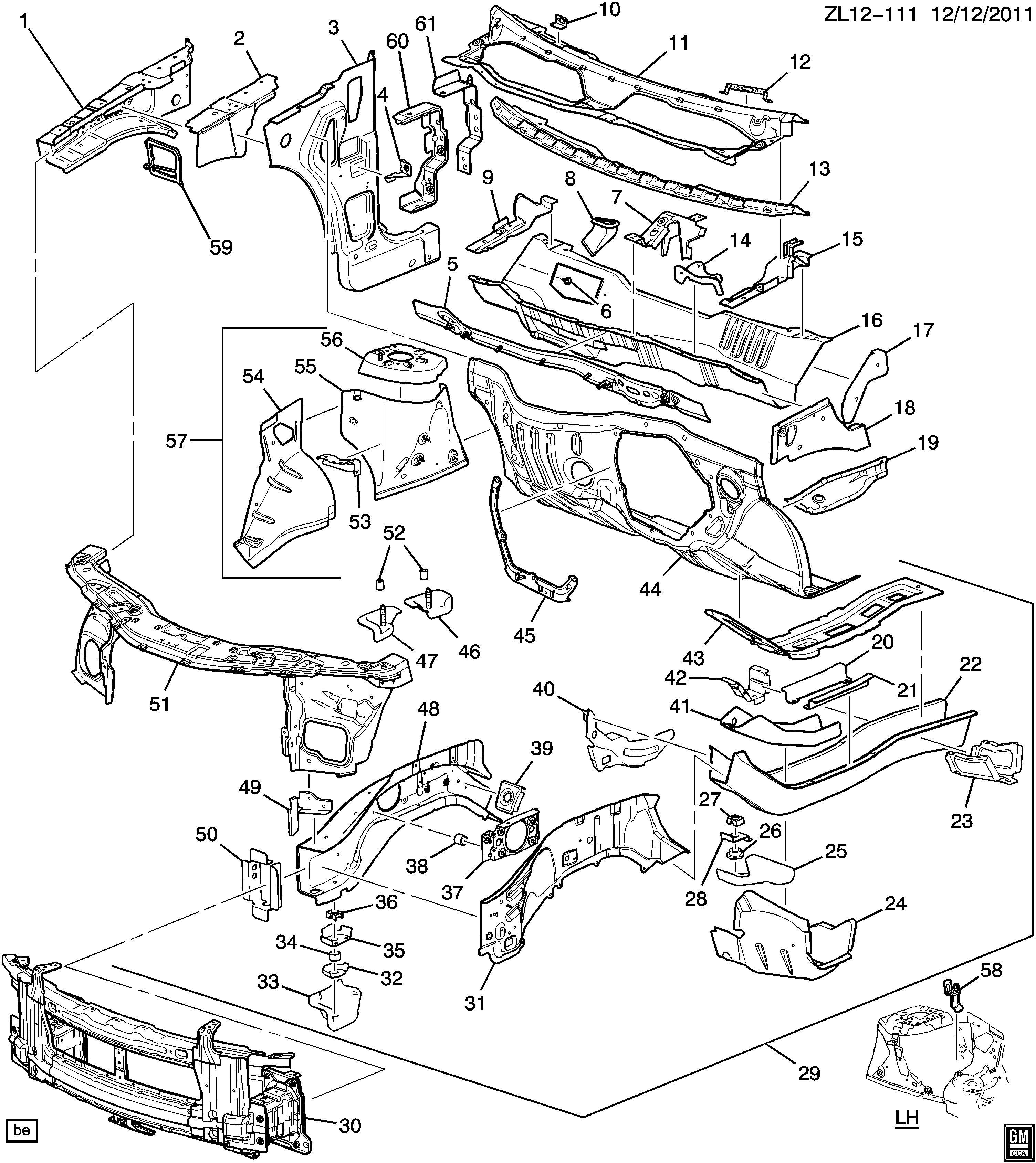 Chevrolet Captiva SHEET METAL/BODY-ENGINE COMPARTMENT & DASH