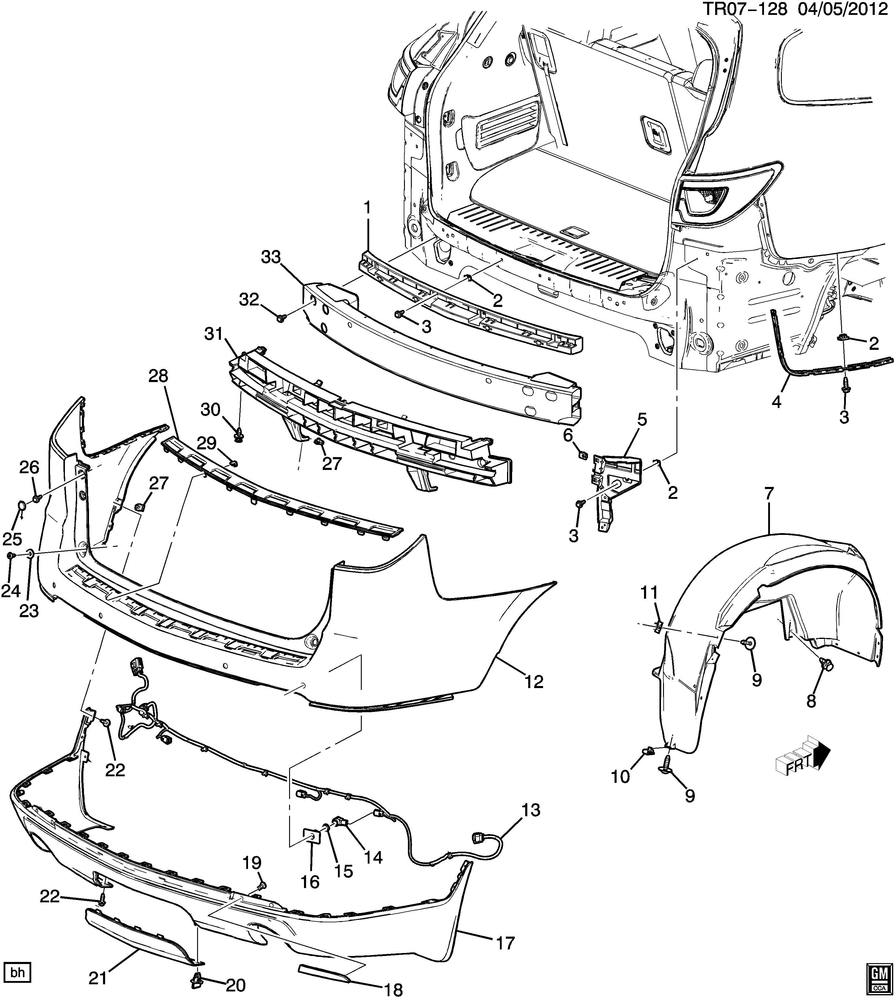 Chevrolet Traverse Cover. Front and rear bumper/fascia