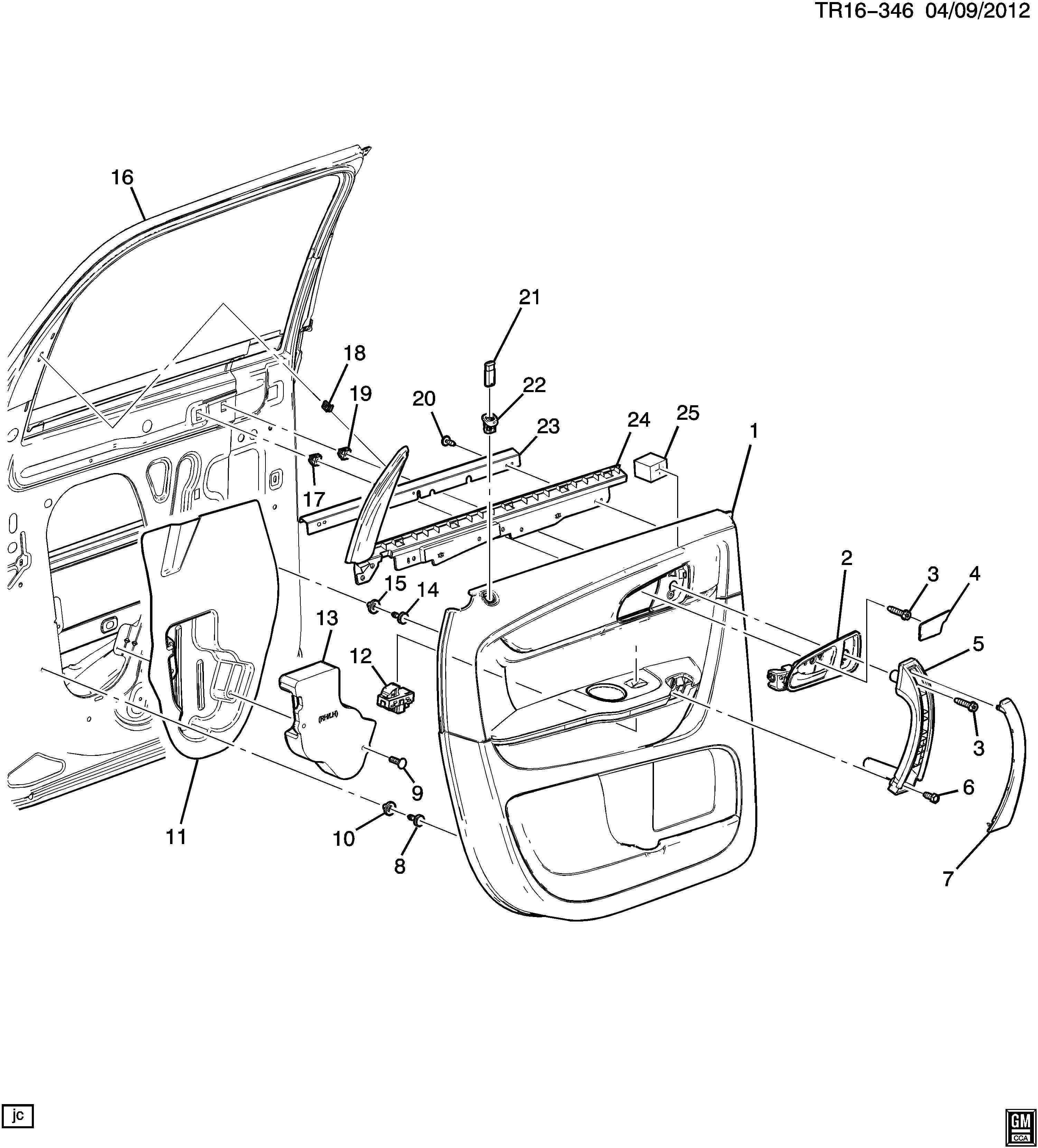 buick enclave door trim side rear