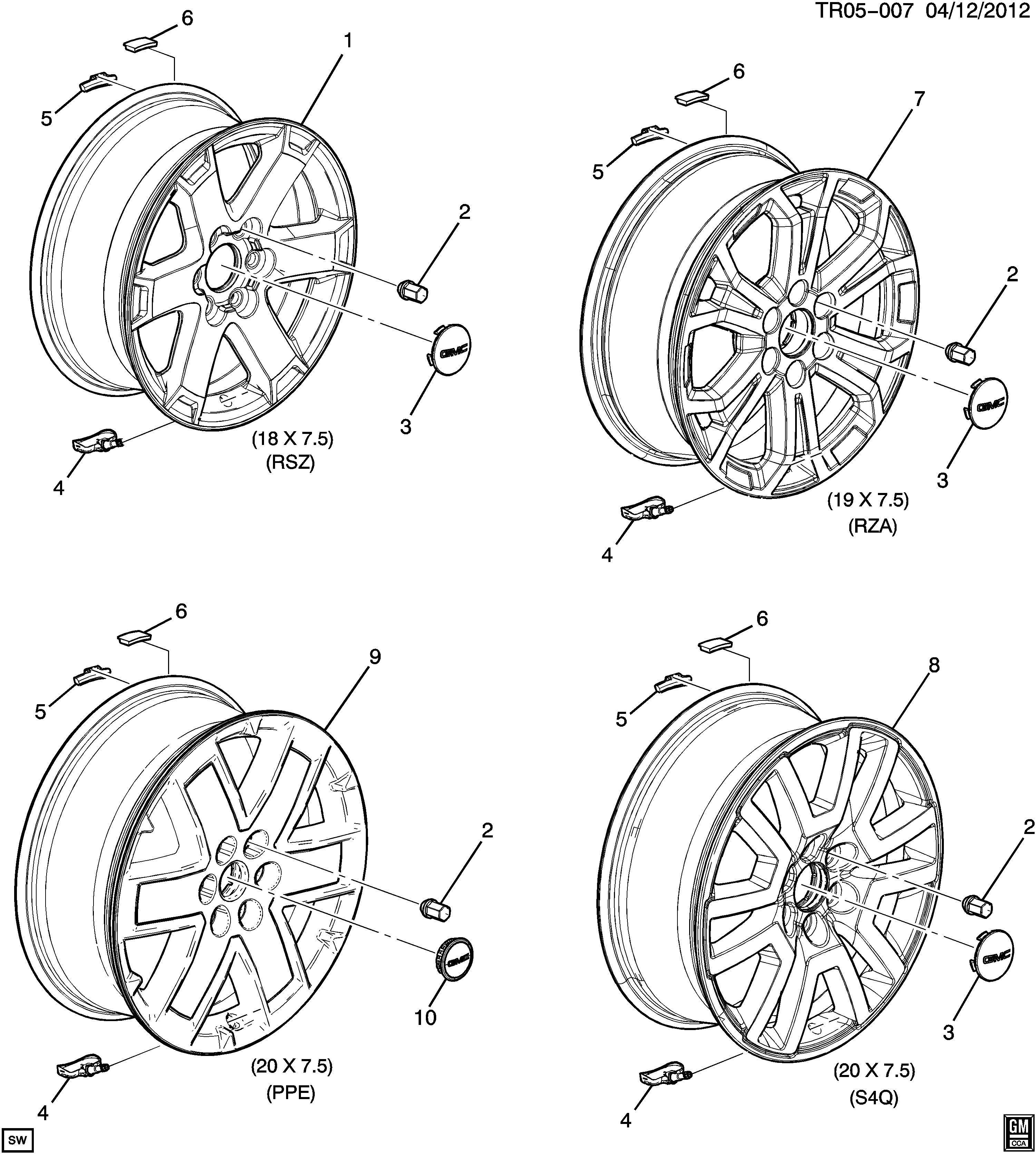 GMC ACADIA Wheel. Rear or spare. Bcbright, machinecode