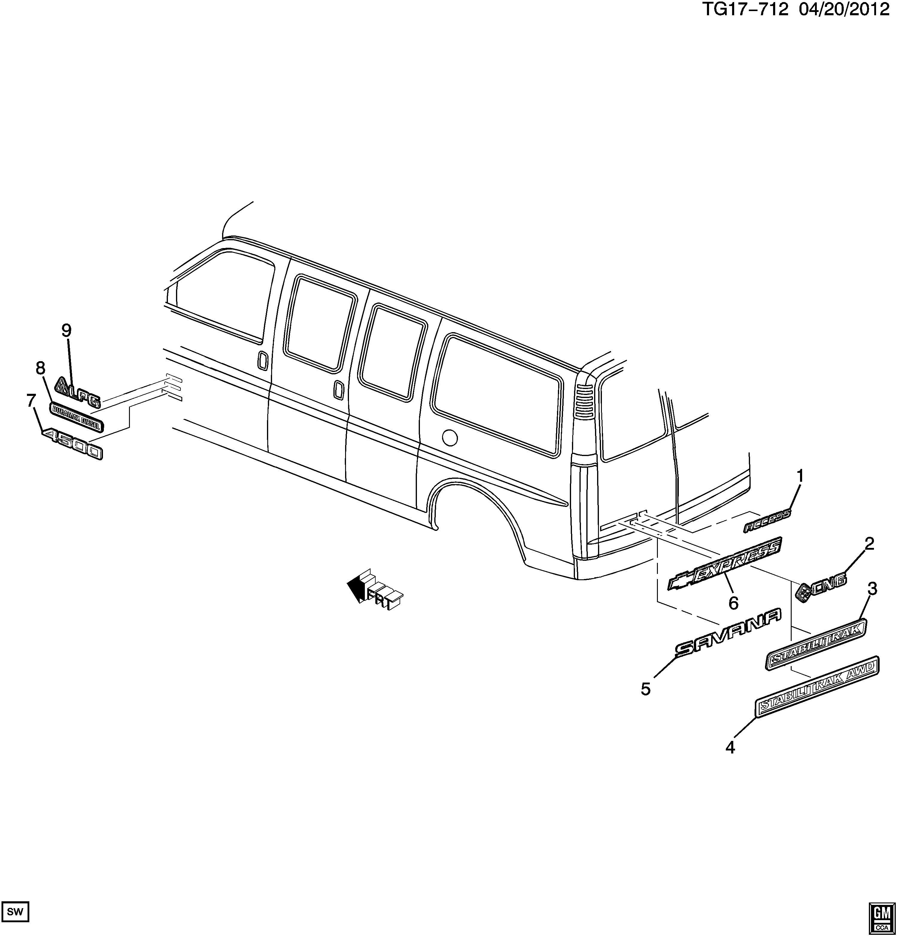Chevrolet Express Plate End Gate And Rear Door