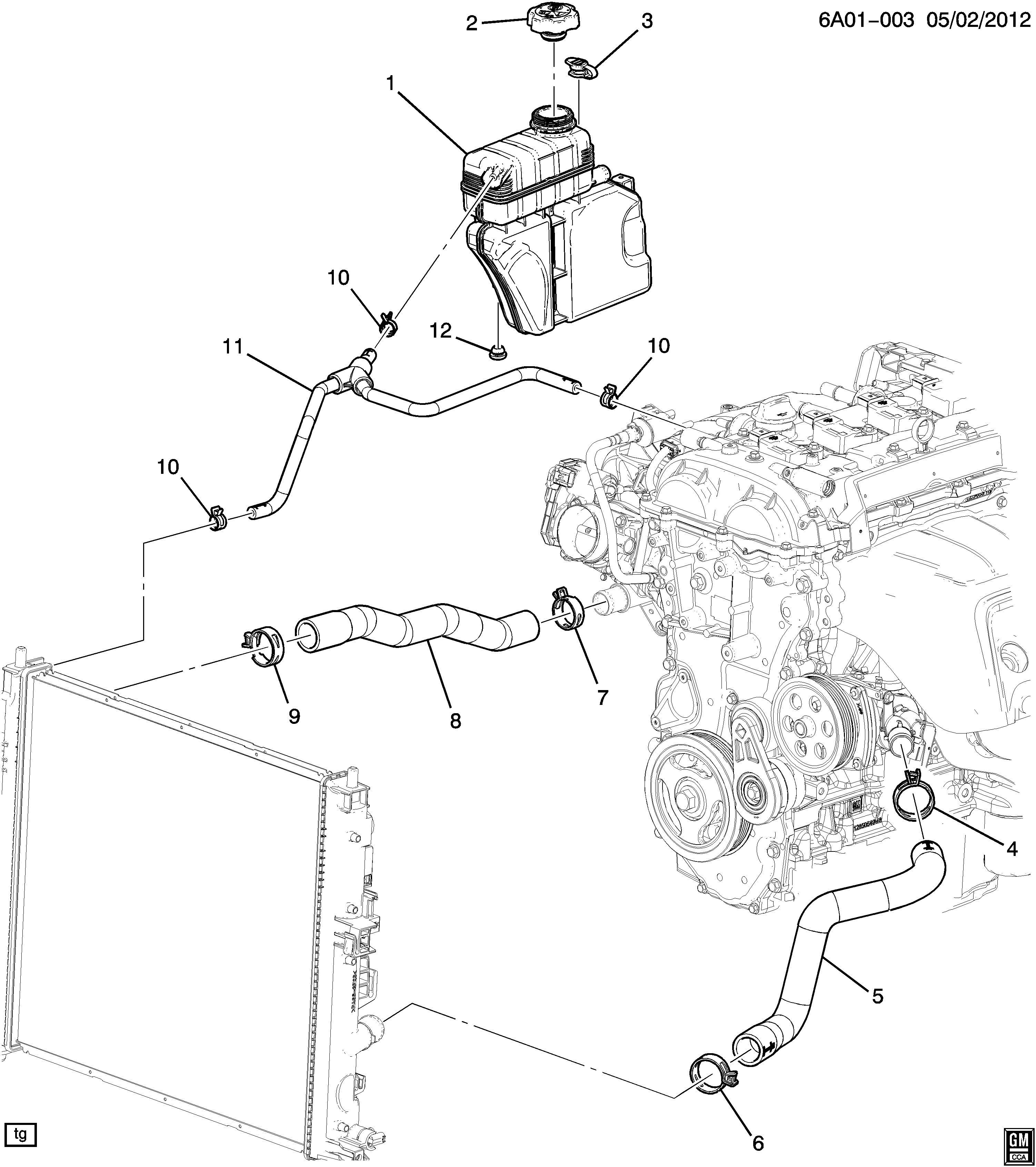 Cadillac ATS Hose. Engine coolant recovery. Hose, rad