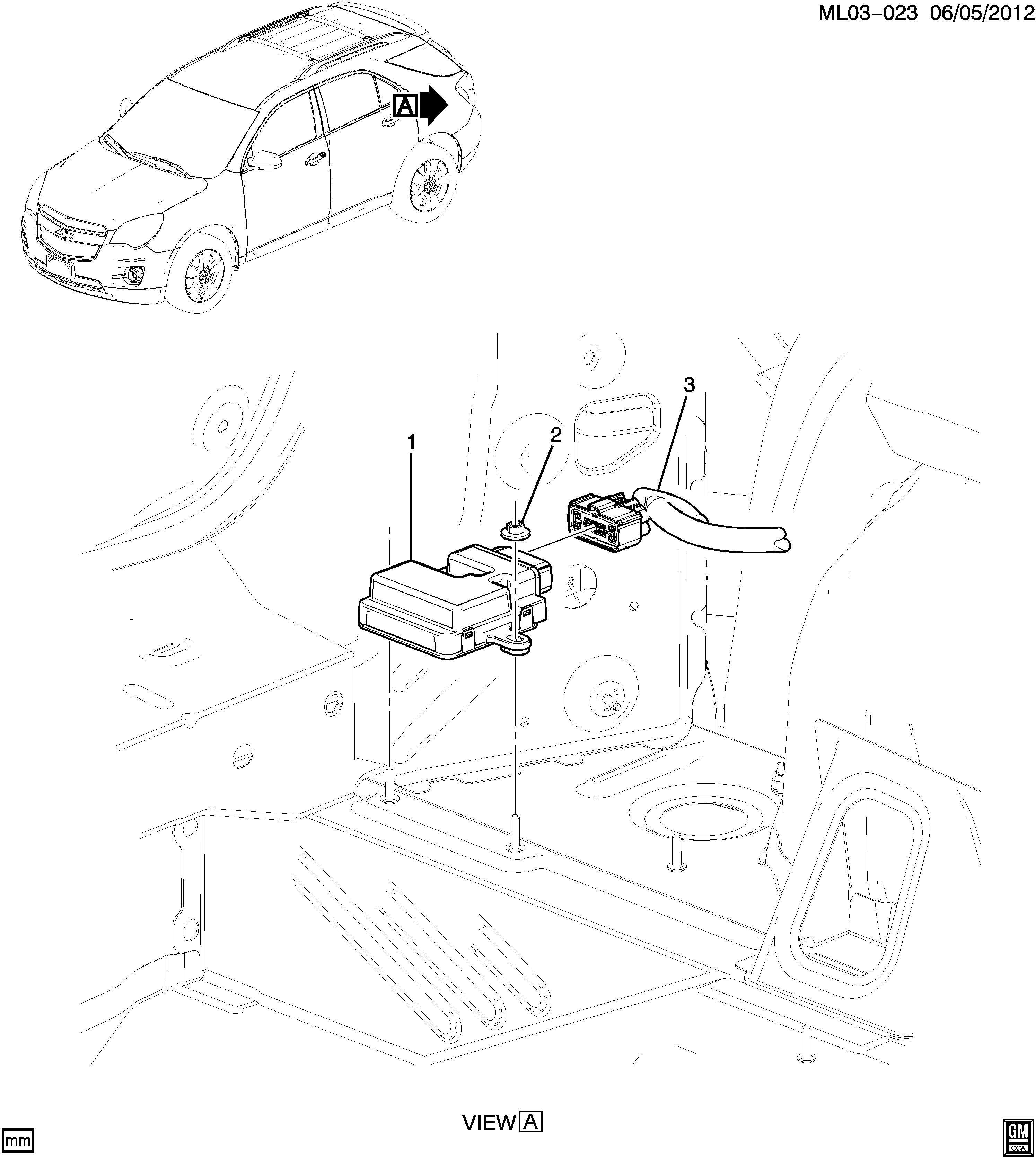 2010 chevy equinox body control module location