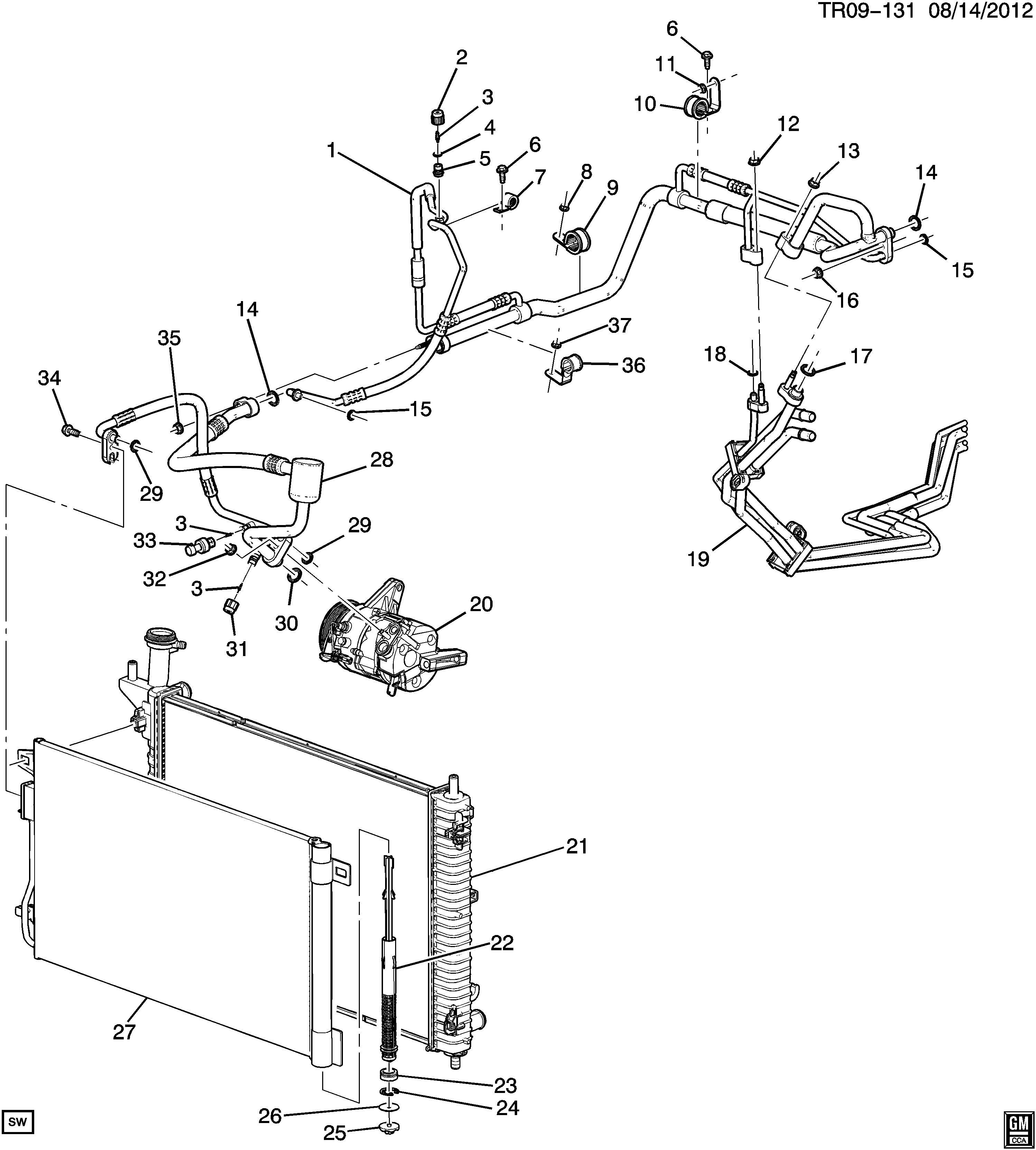 Chevrolet Traverse Tube. Air conditioning (a/c) evaporator