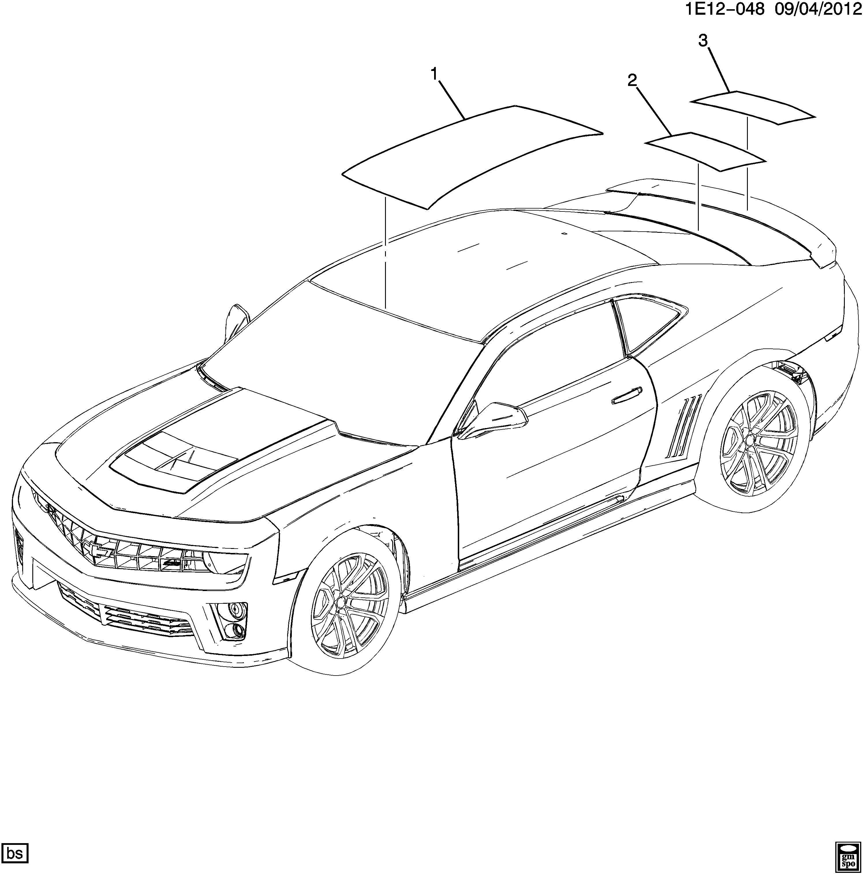 2013 Chevrolet Camaro Spoiler Decal. COUPE, spoiler, w/ZL1