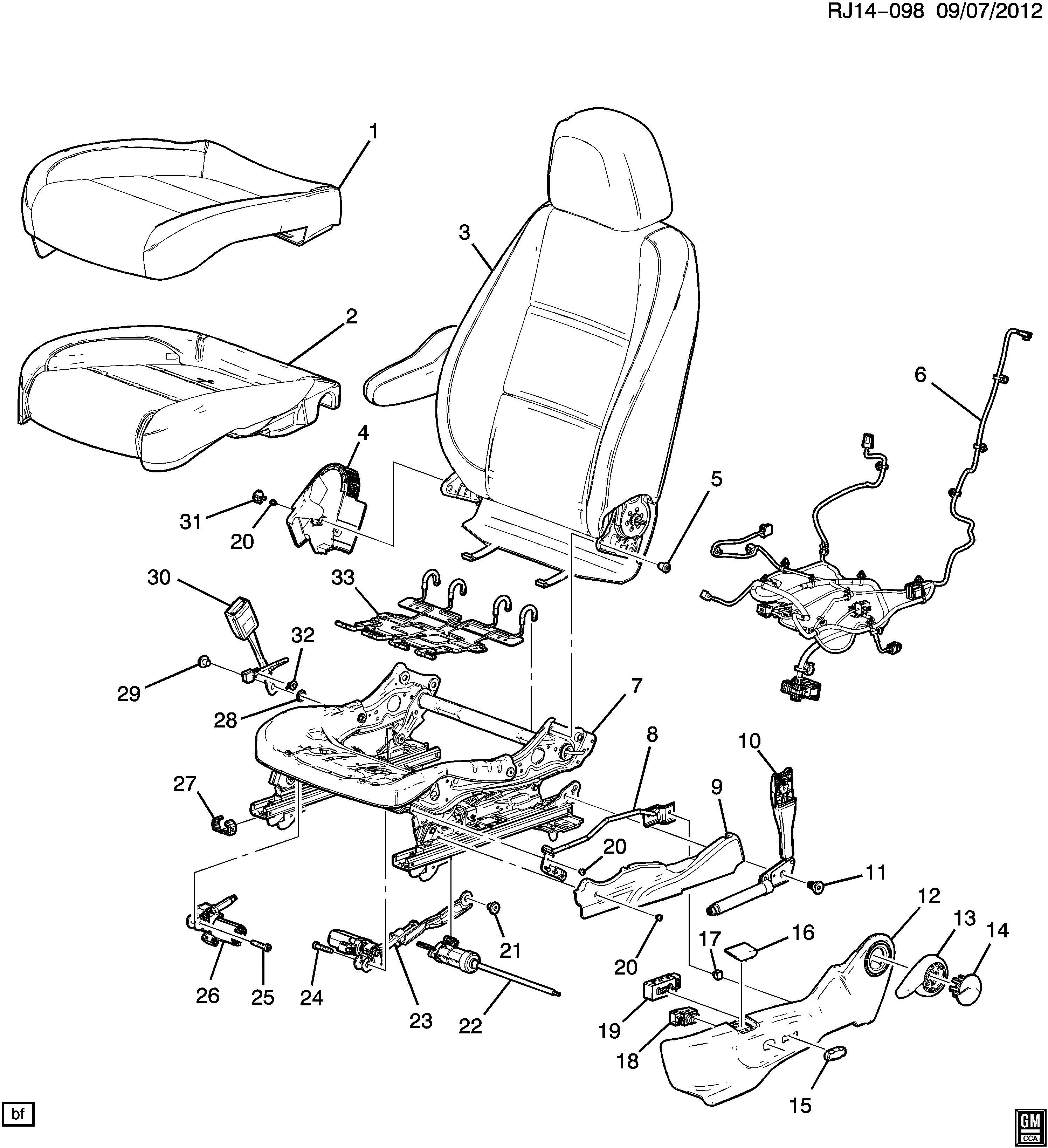 Chevrolet Trax Knob. Front seat adjuster. Seat adjuster