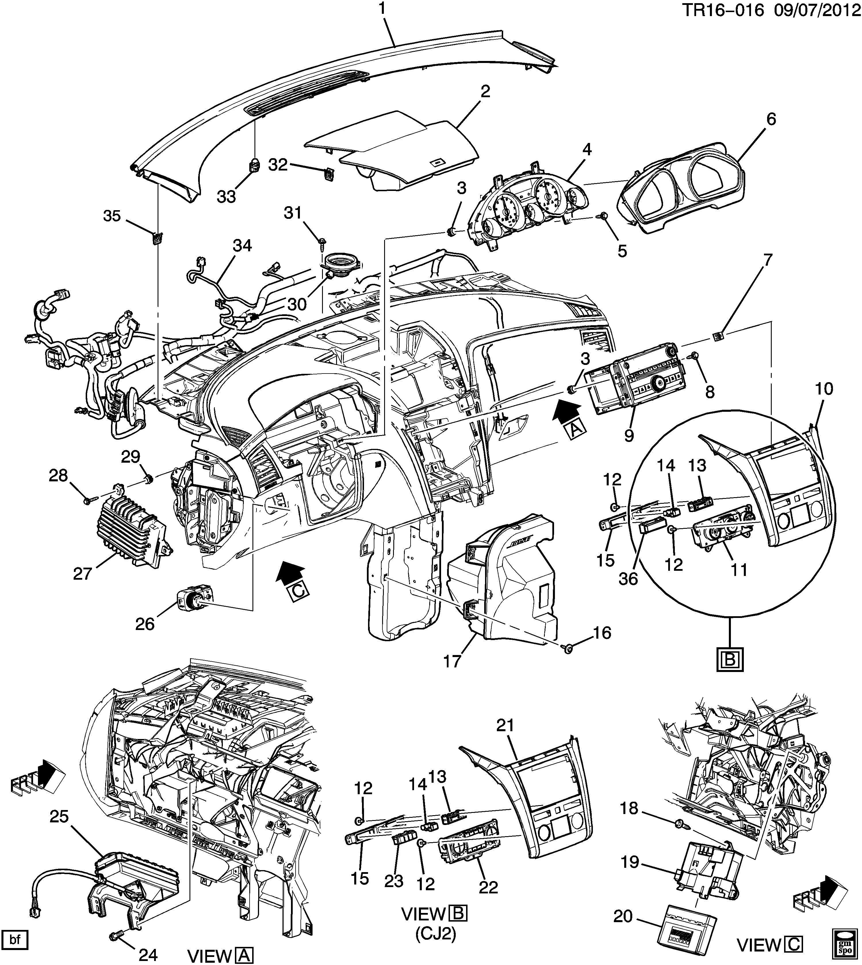Chevrolet Traverse Compartment Instrument Panel