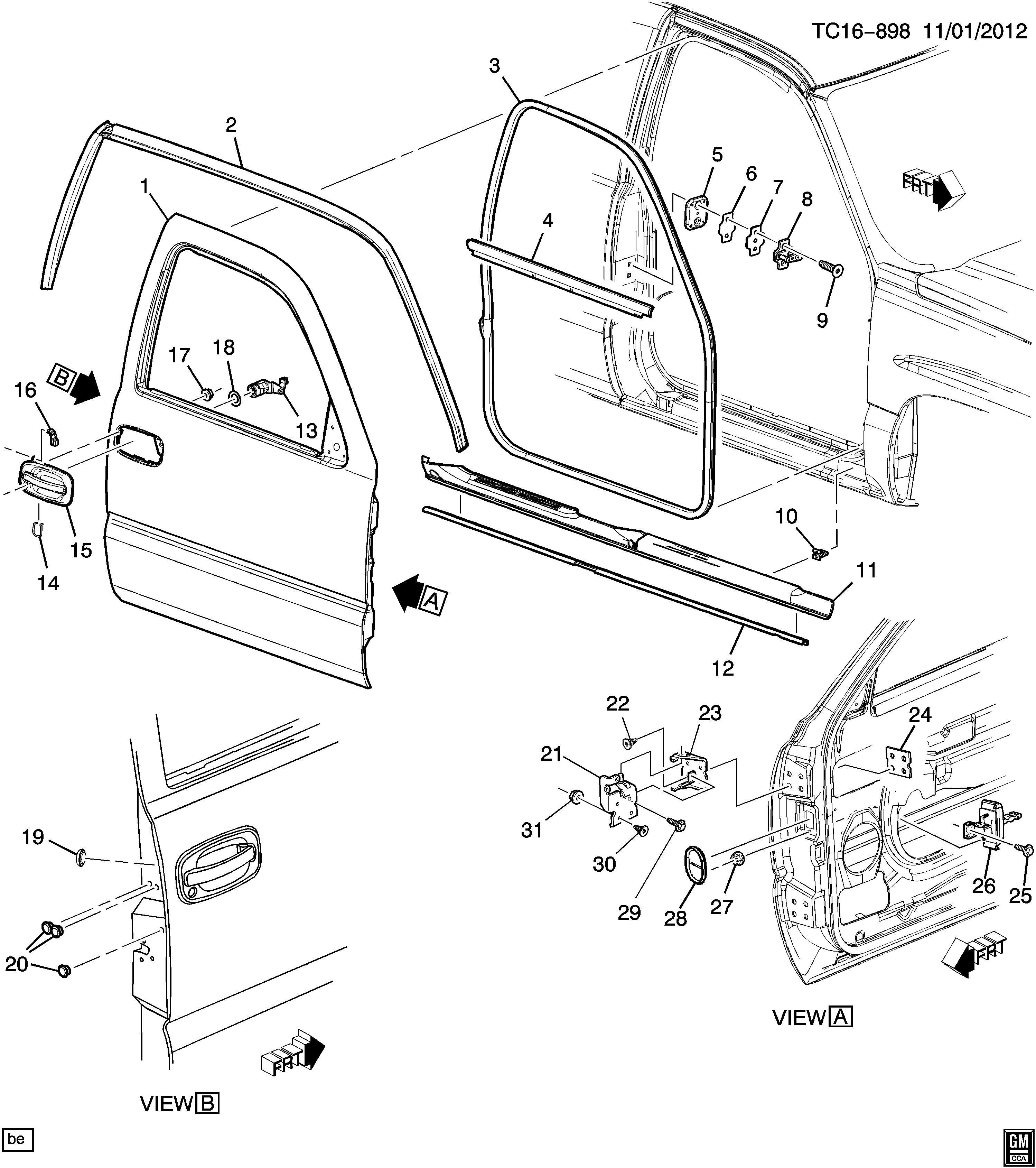 2005 Chevrolet Silverado Weatherstrip. Side door opening