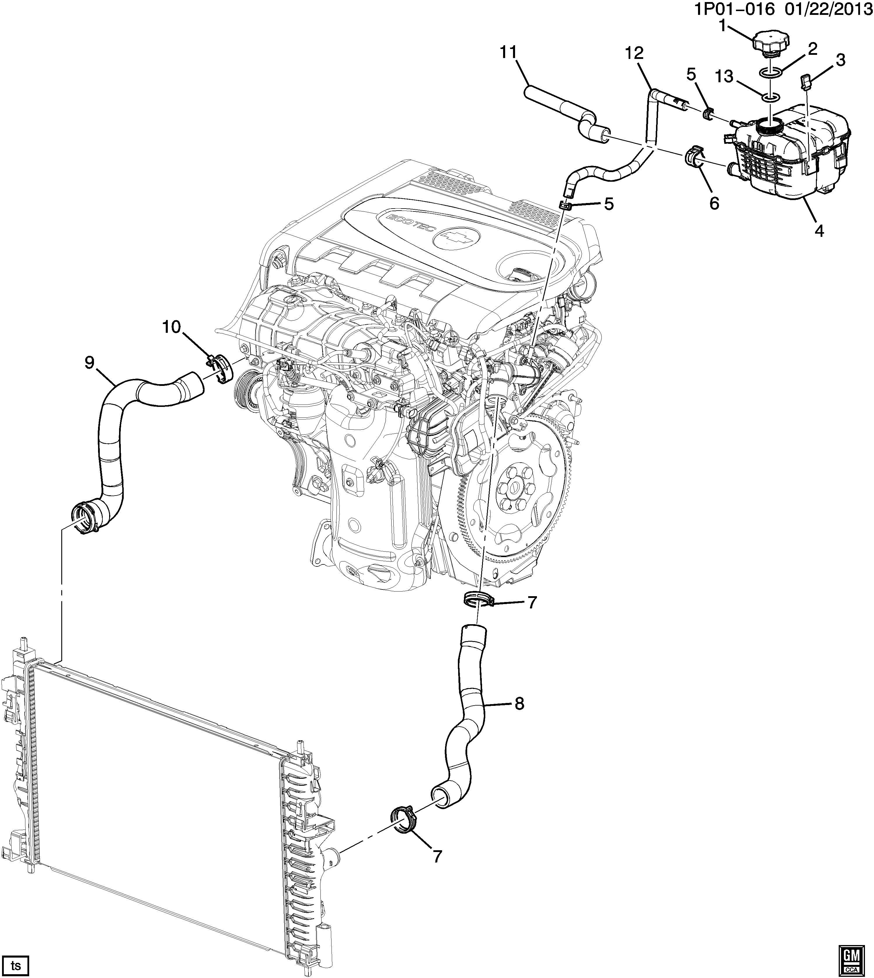 2014 Chevrolet Cruze Cap. Engine coolant recovery
