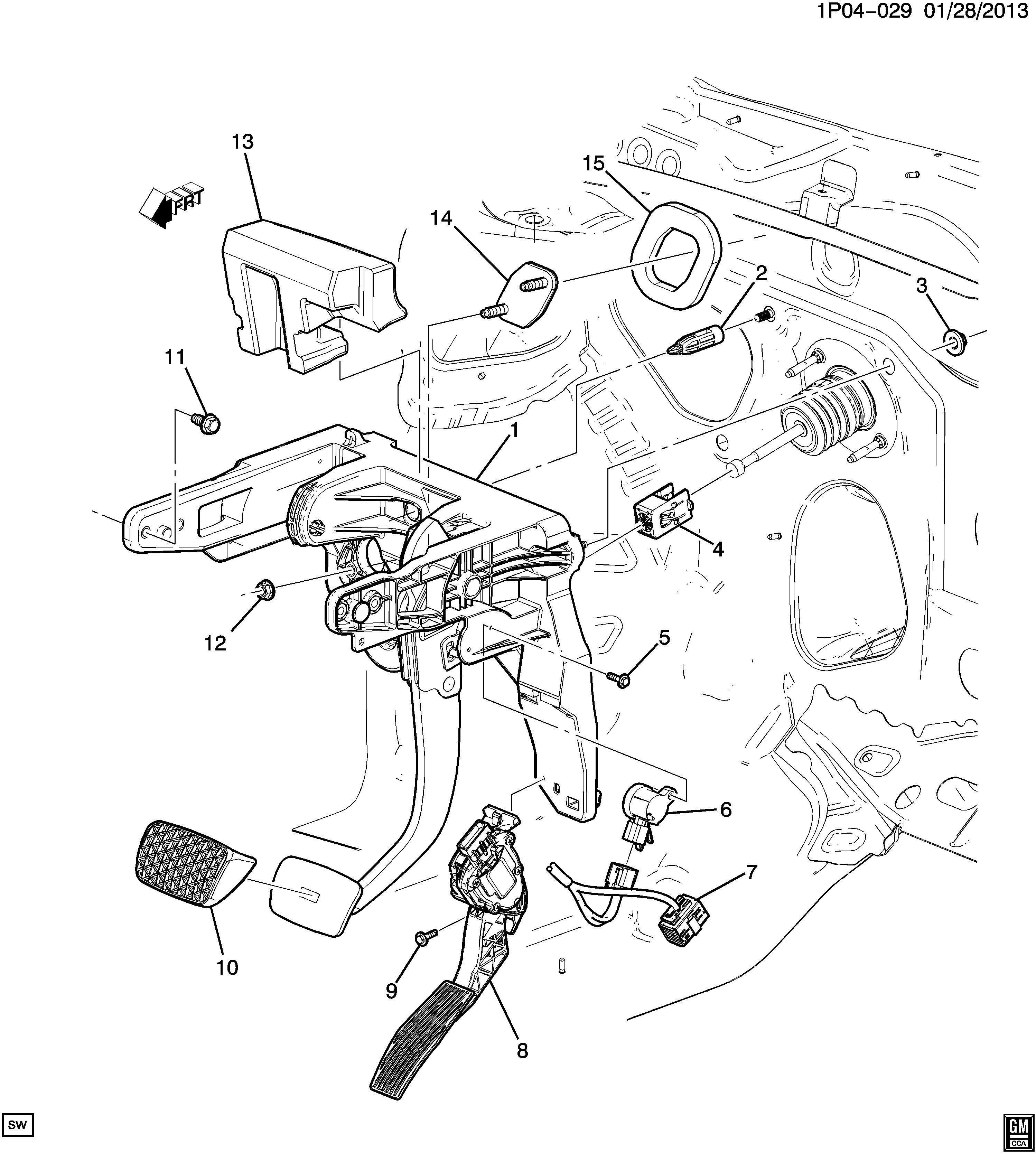 Chevrolet Cruze Pad. Brake/clutch pedal. Retainer. Brake