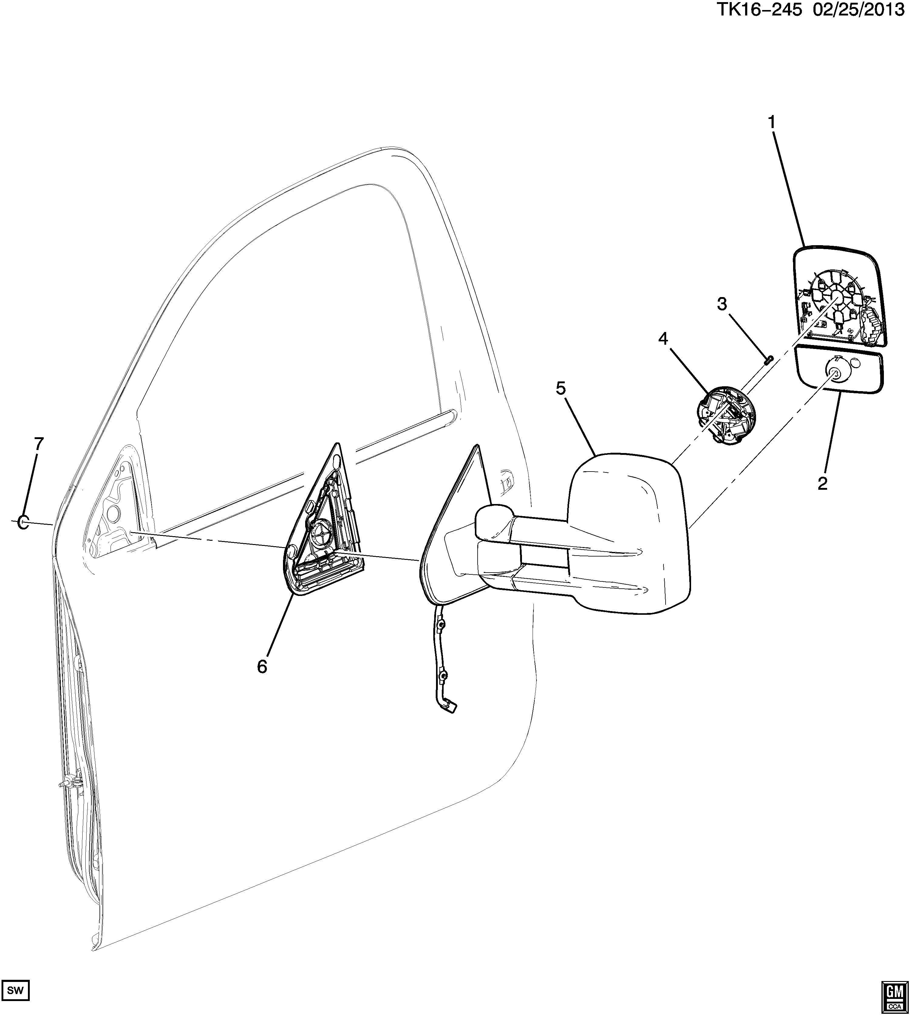 Chevrolet Silverado Base Rear View Mirror